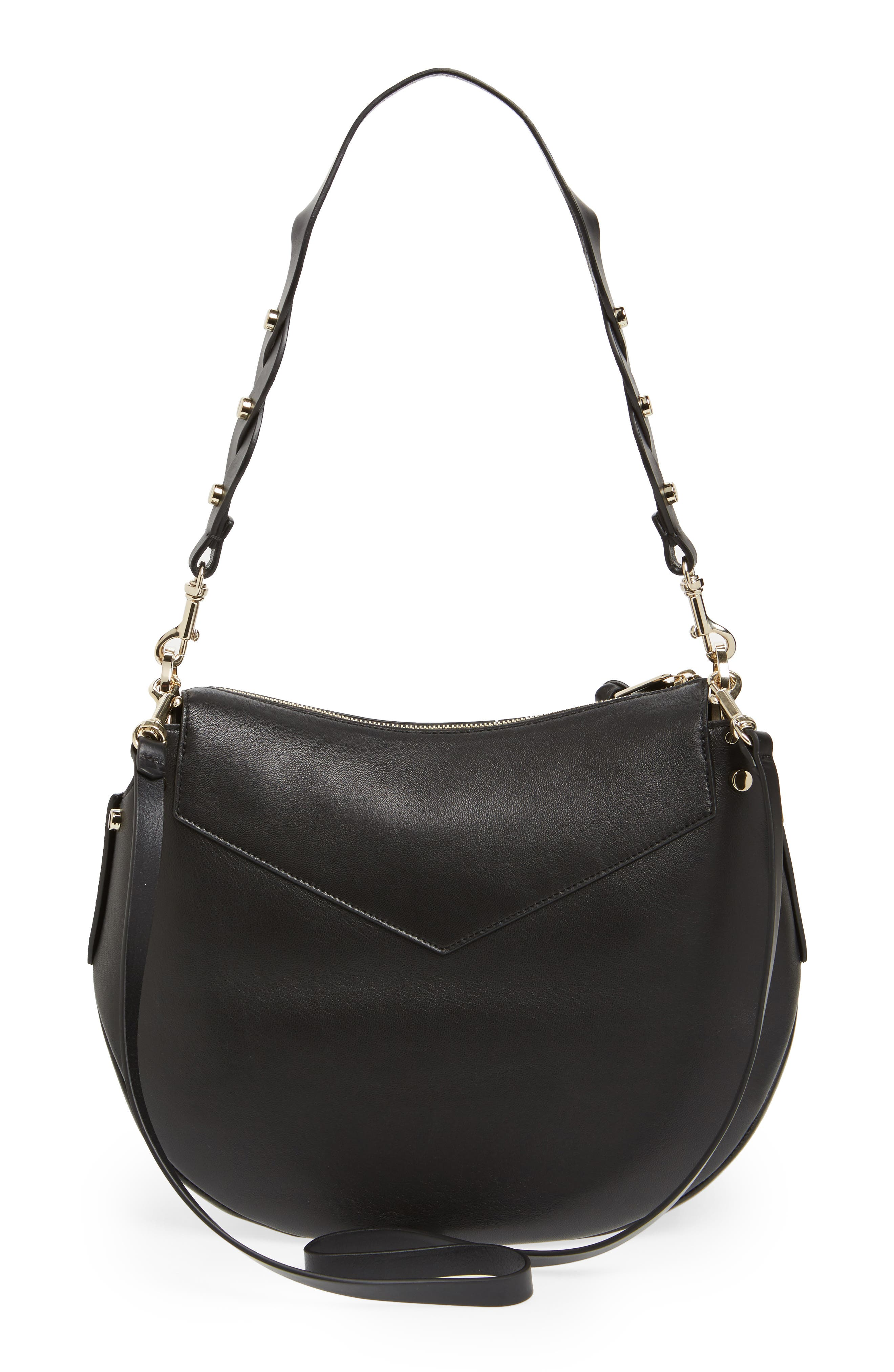 Artie Nappa Leather Hobo Bag,                             Alternate thumbnail 3, color,                             001