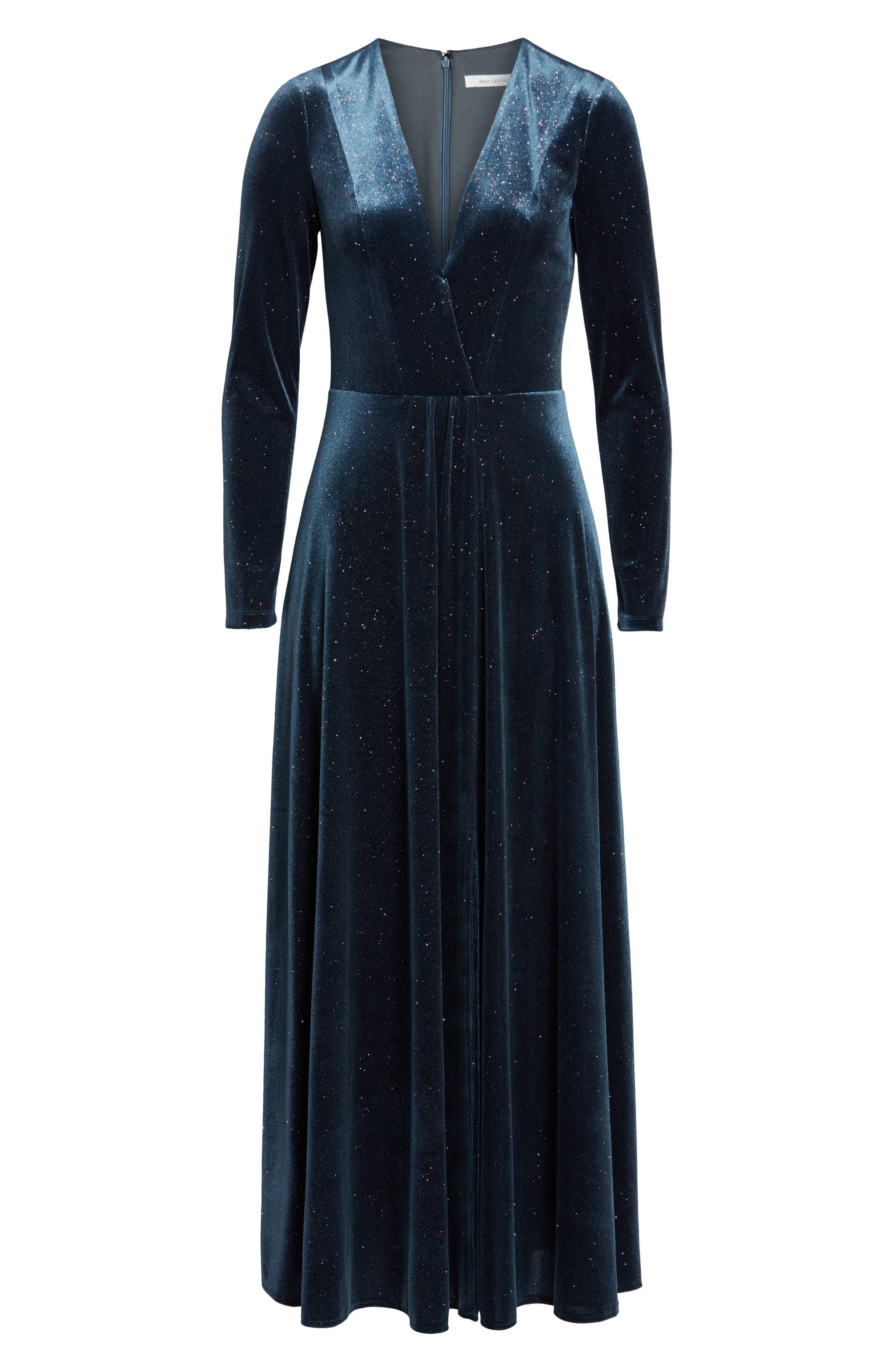 Sparkle Velvet Maxi Dress,                             Alternate thumbnail 6, color,                             MIDNIGHT