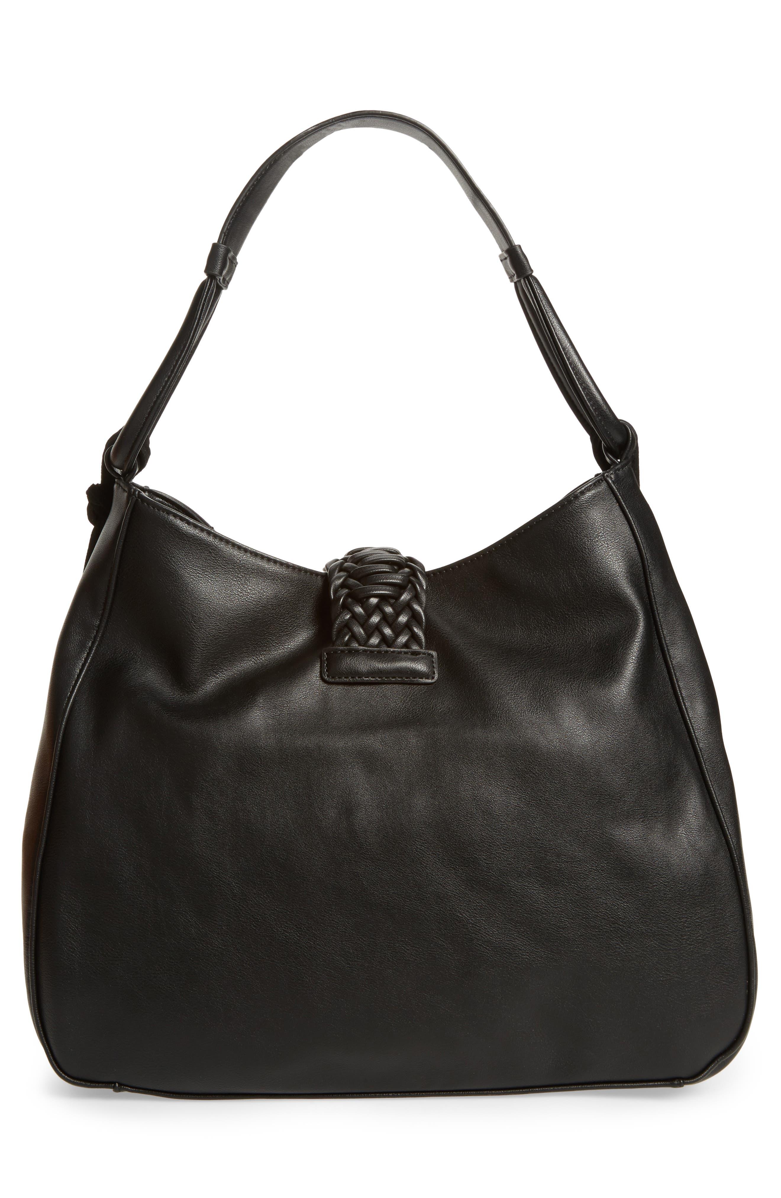 Vale Faux Leather Hobo Bag,                             Alternate thumbnail 3, color,                             001