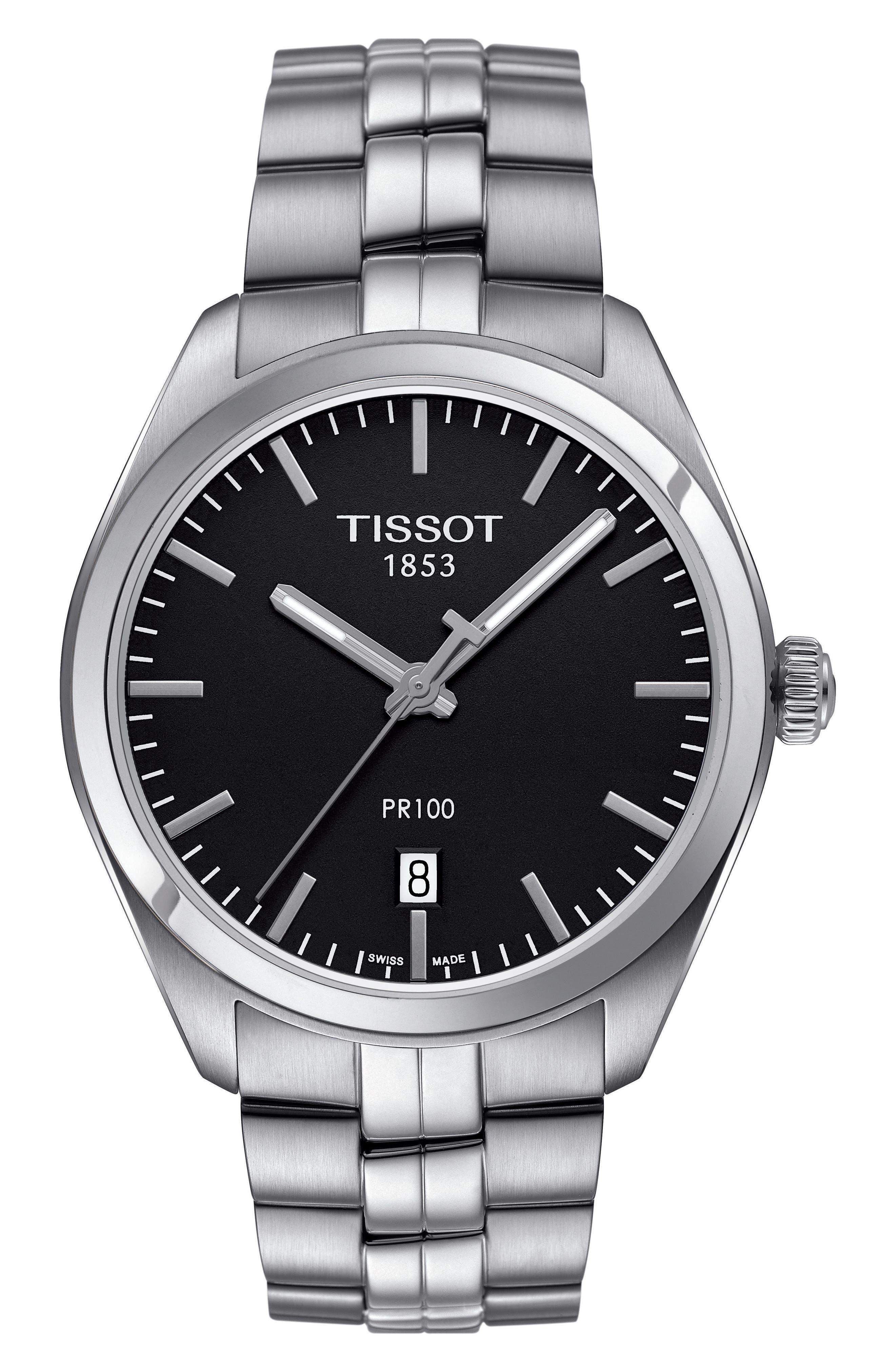 PR100 Bracelet Watch, 39mm,                             Main thumbnail 1, color,                             SILVER/ BLACK/ SILVER