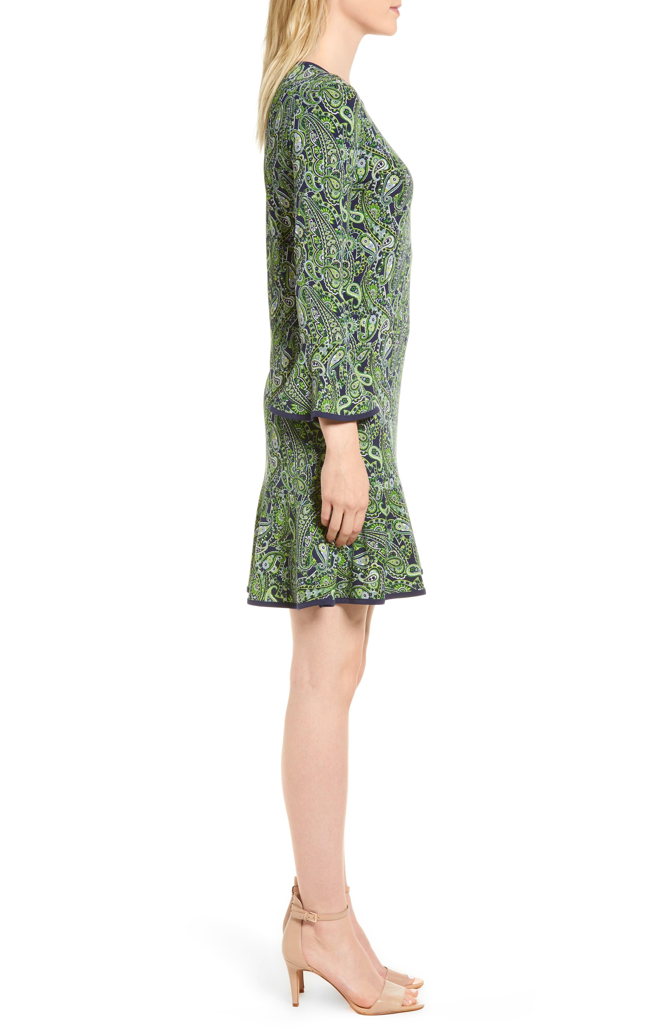 Paisley Flounce Dress,                             Alternate thumbnail 3, color,                             362