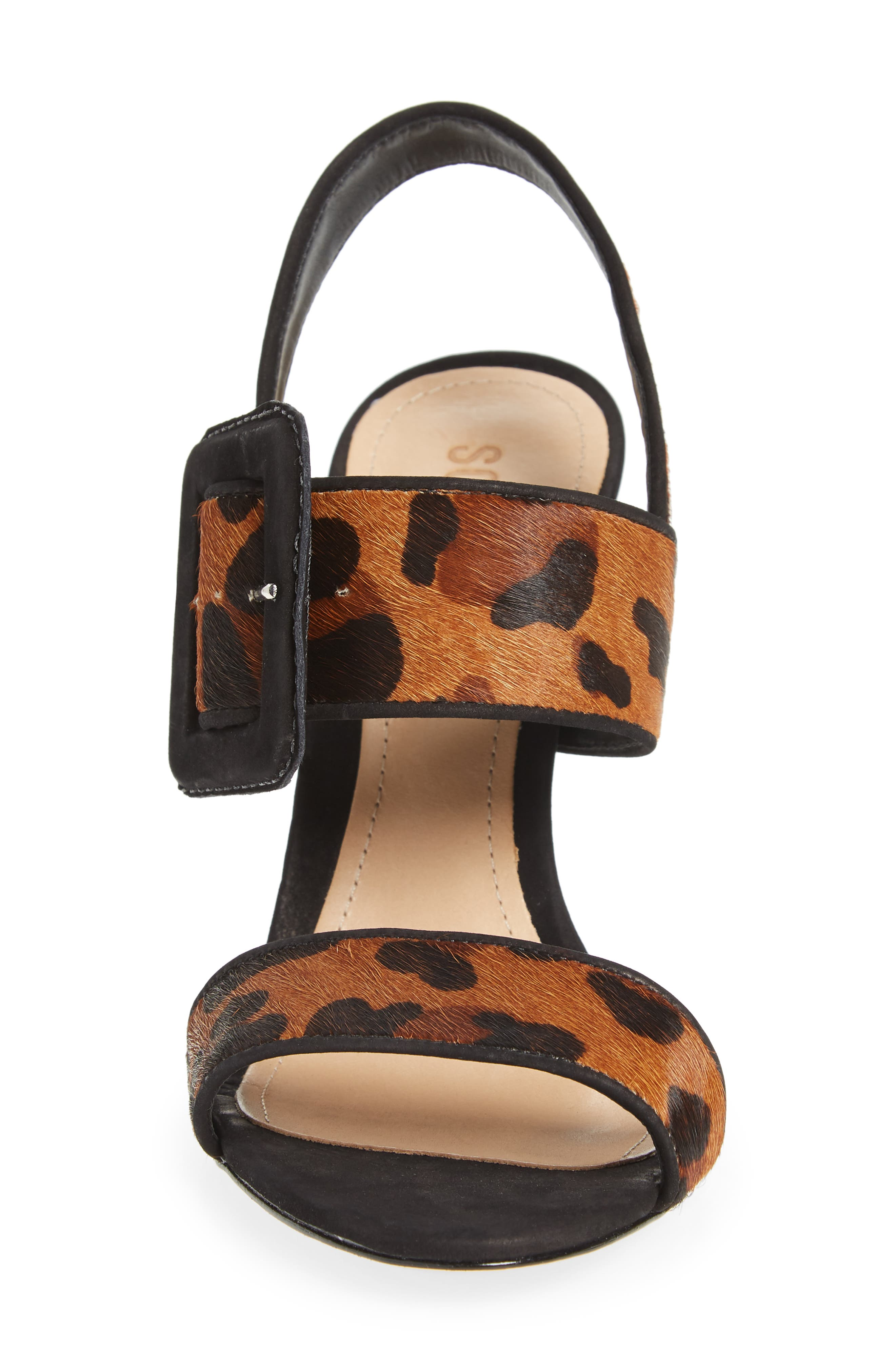 Lucci Genuine Calf Hair Sandal,                             Alternate thumbnail 4, color,                             NATURAL/ BLACK