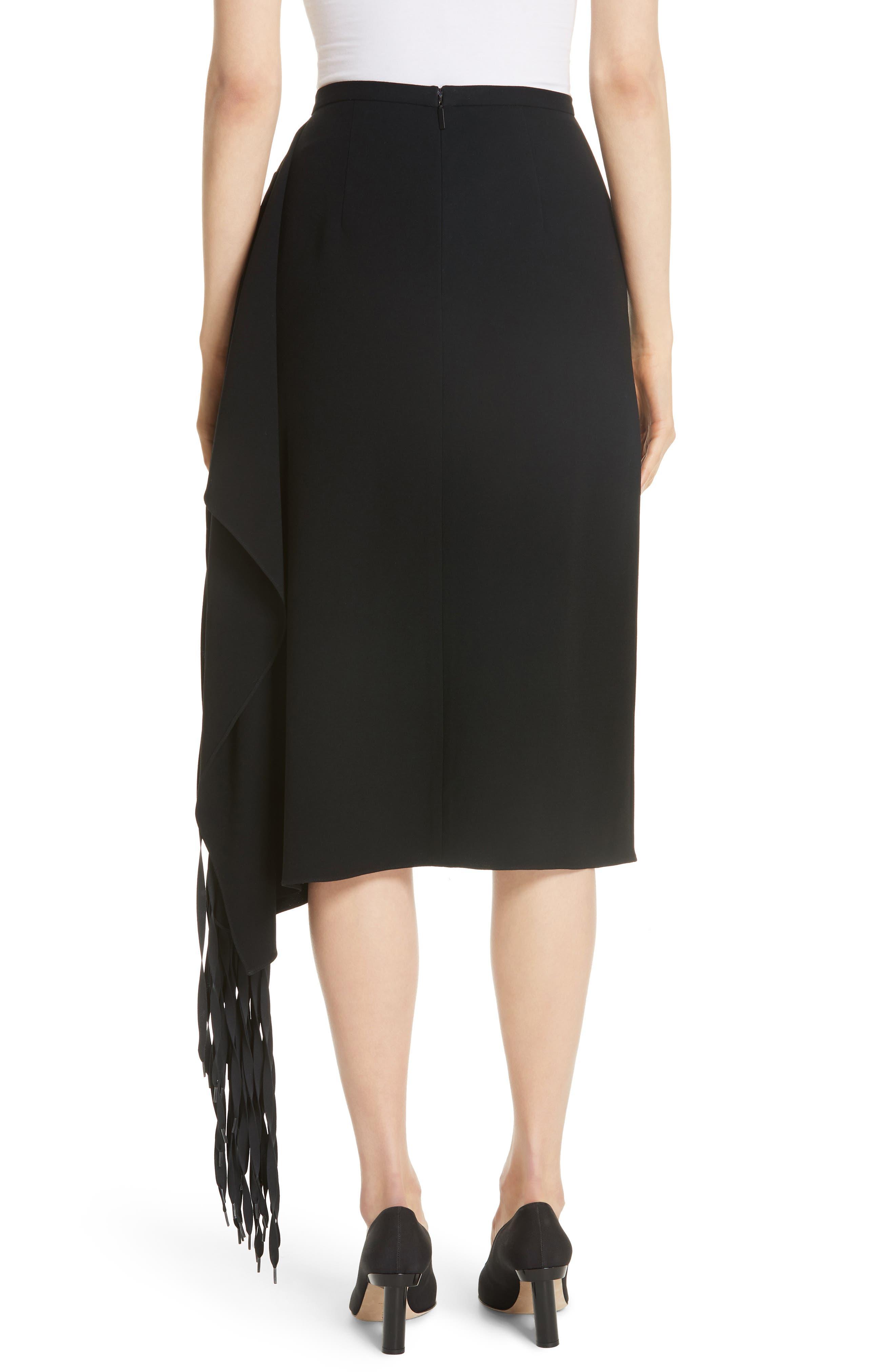 TIBI,                             Shoelace Fringe Skirt,                             Alternate thumbnail 2, color,                             BLACK