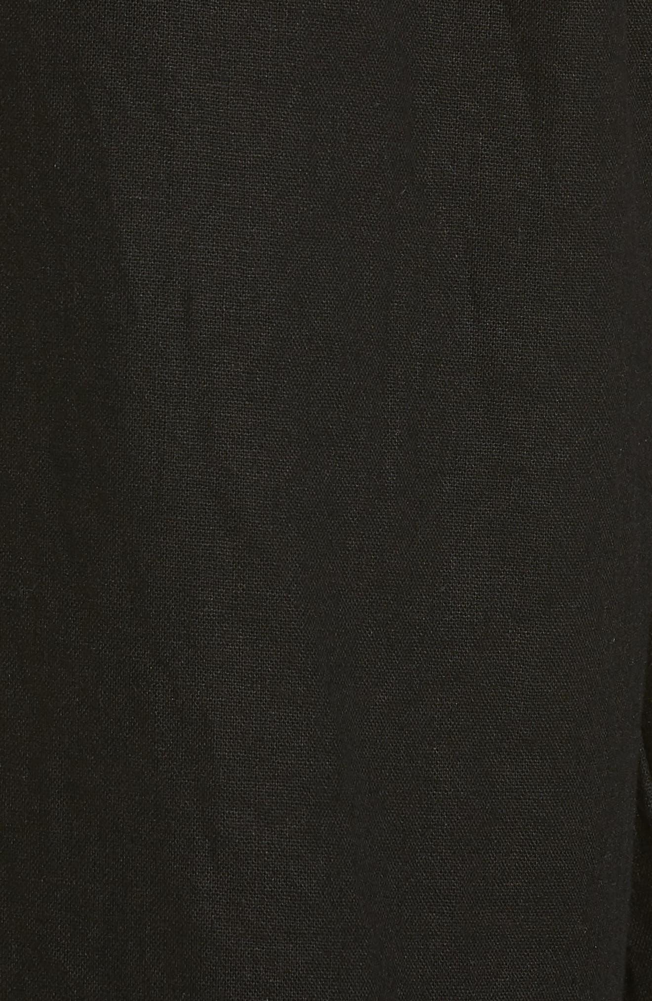 Ruffle Hem Linen Blend Crop Pants,                             Alternate thumbnail 6, color,                             001