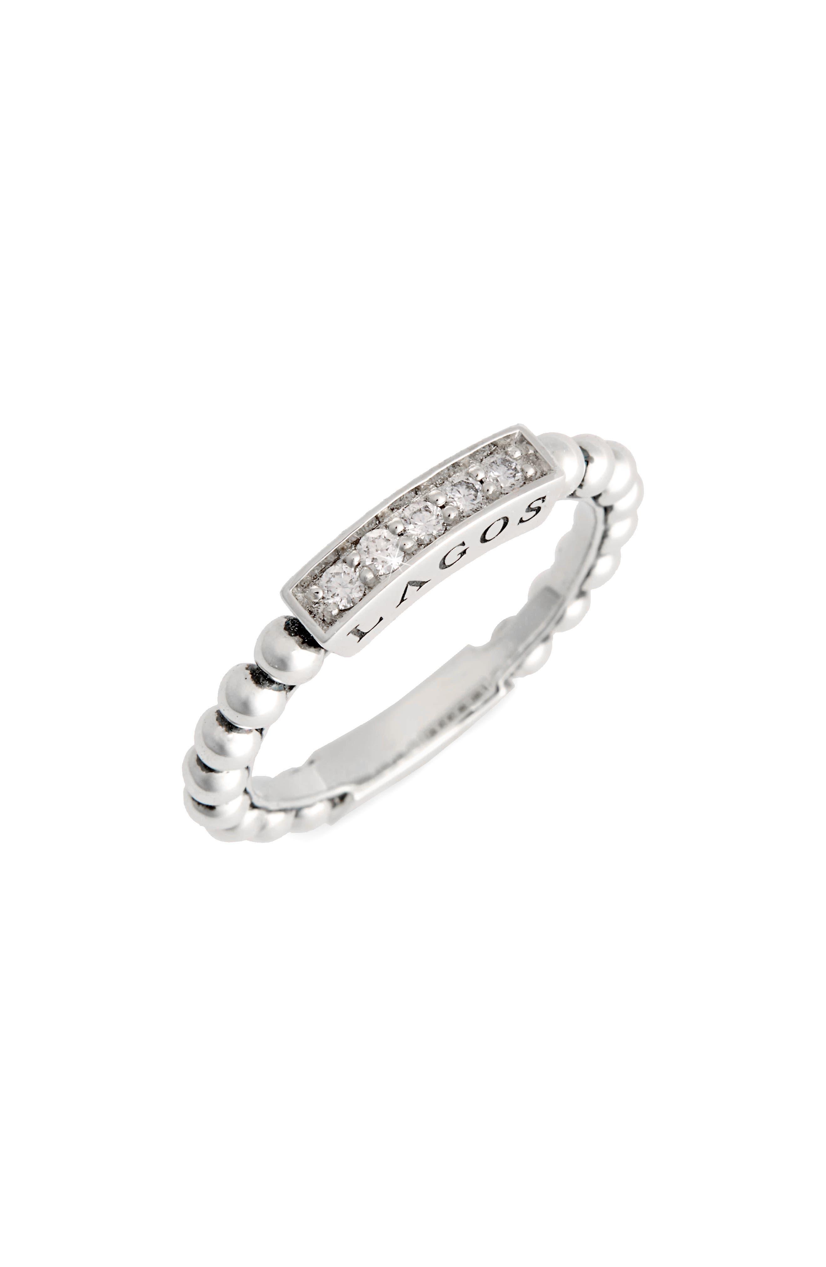 LAGOS,                             Caviar Icon Spark Diamond Stacking Ring,                             Main thumbnail 1, color,                             SILVER/ DIAMOND