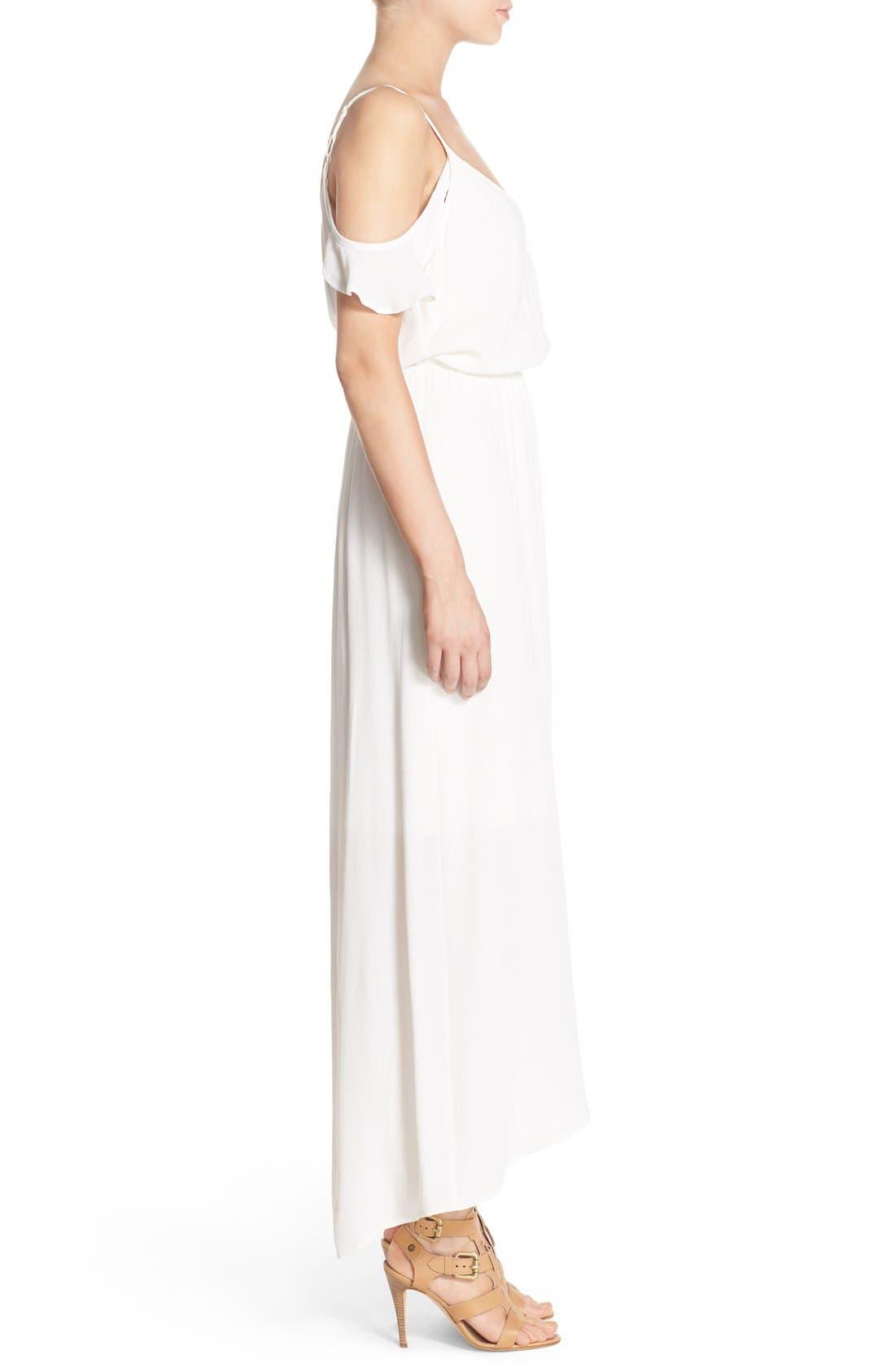 Cold Shoulder Wrap Front Maxi Dress,                             Alternate thumbnail 2, color,                             WHITE