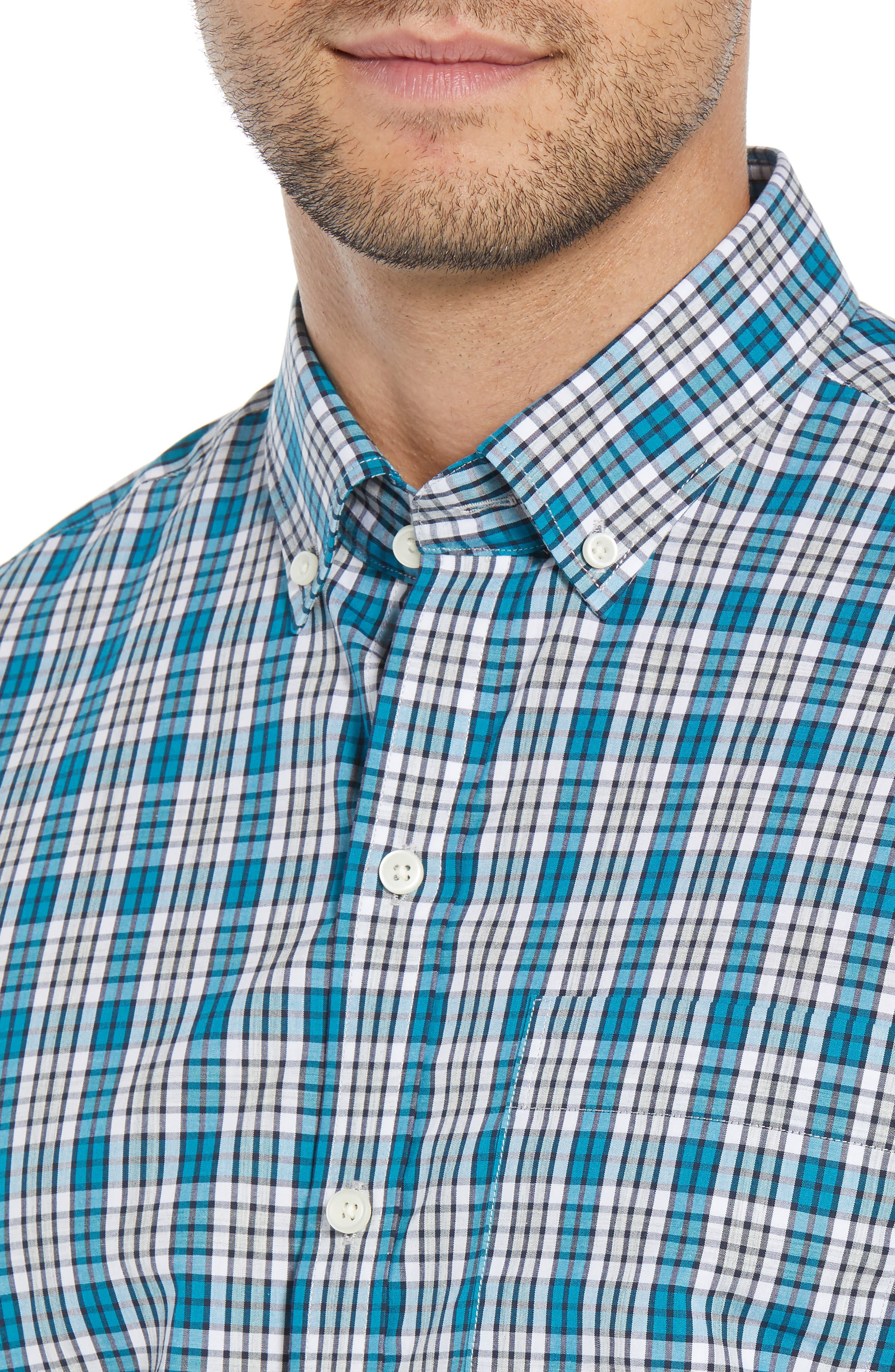 Harris Regular Fit Non-Iron Plaid Sport Shirt,                             Alternate thumbnail 2, color,                             AQUATIC