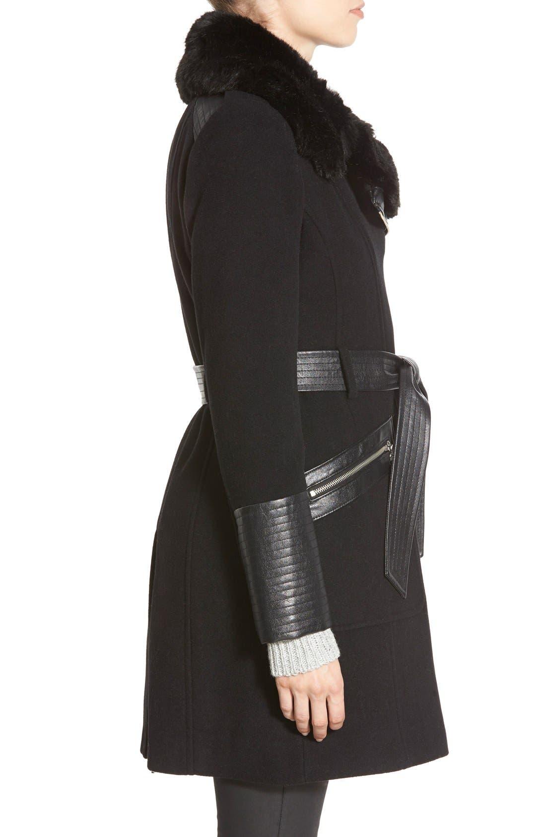 Faux Leather & Faux Fur Trim Belted Wool Blend Coat,                             Alternate thumbnail 21, color,