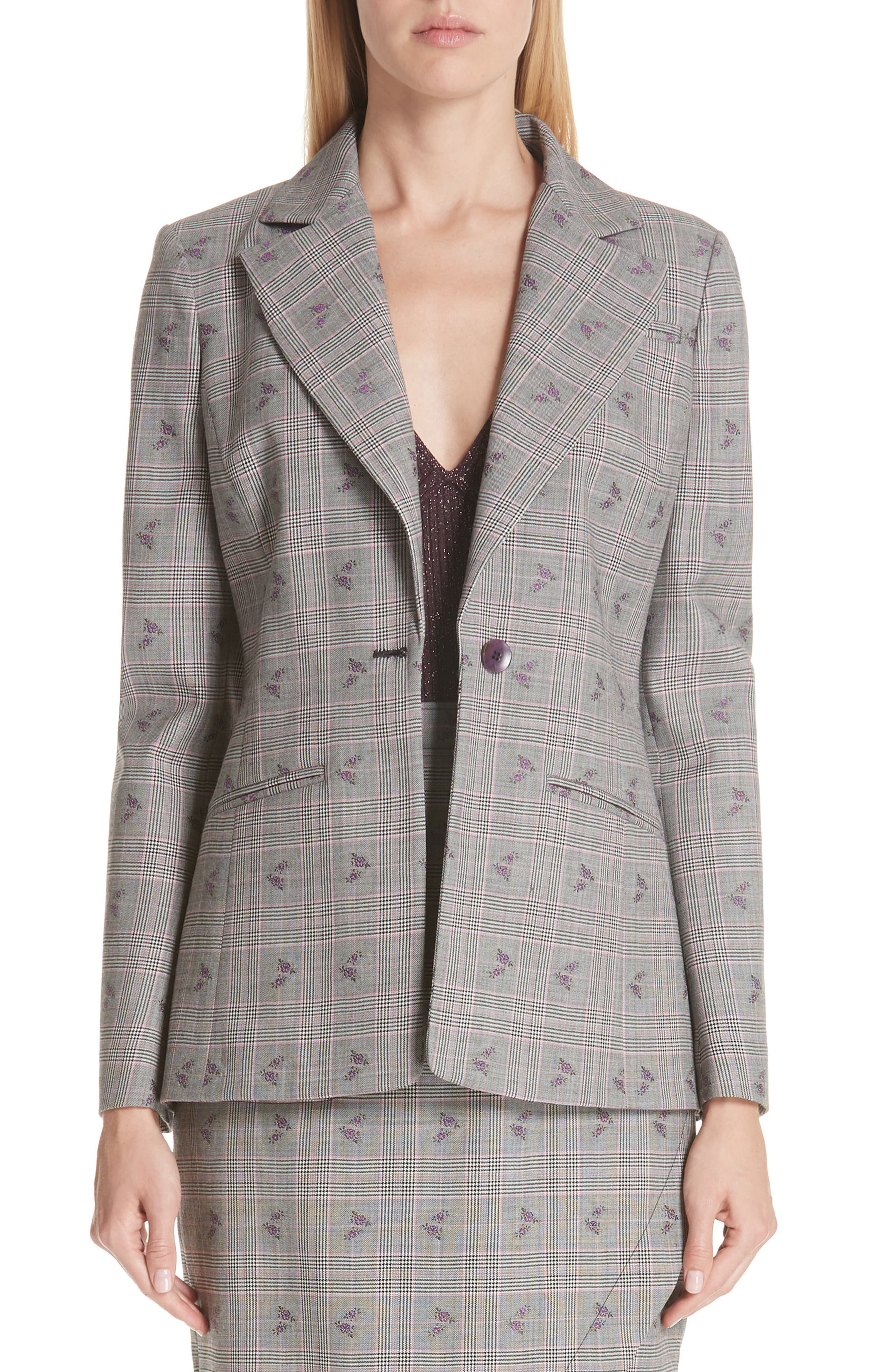 ALTUZARRA Floral Plaid Jacket, Main, color, 001