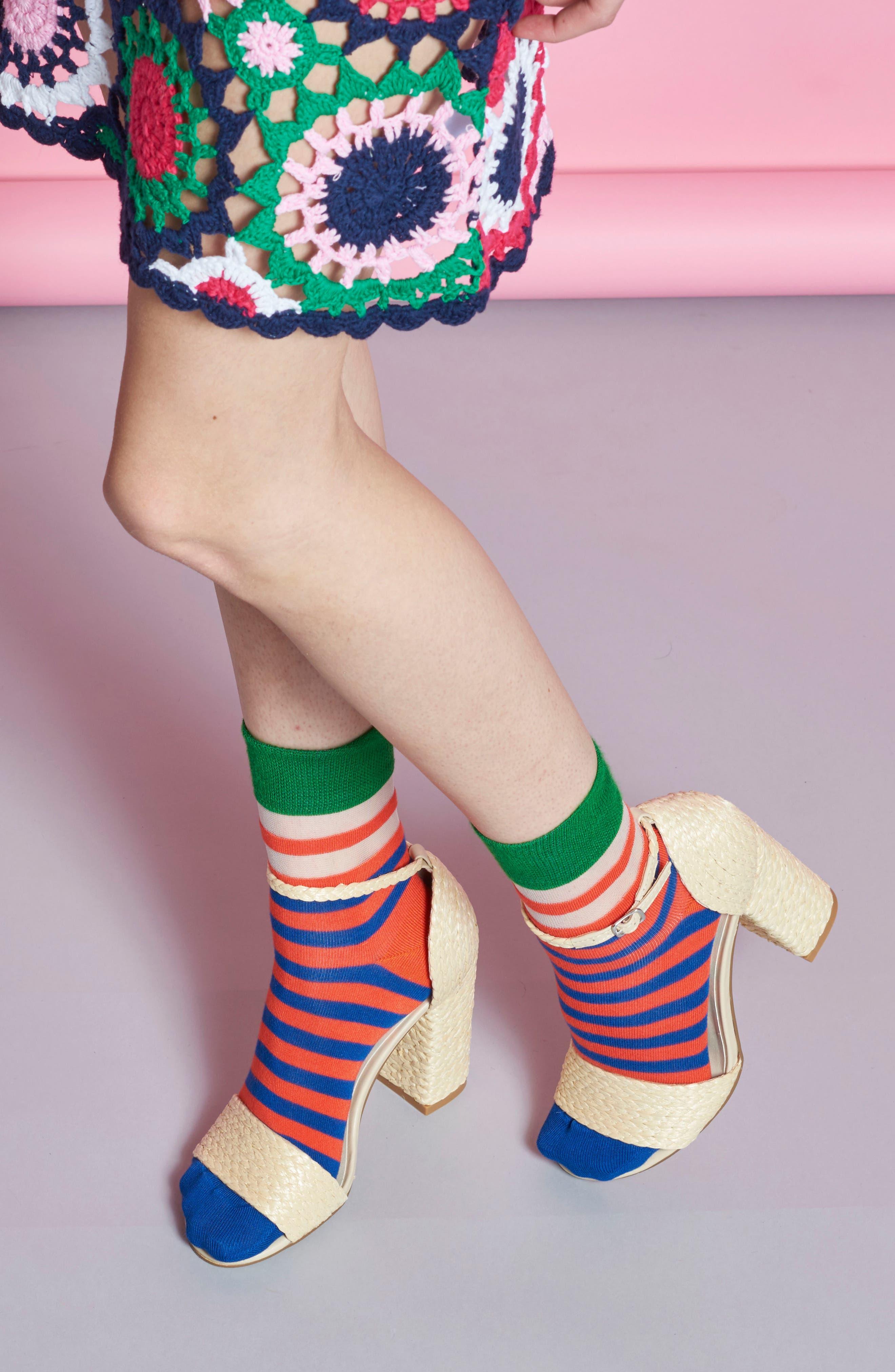 Verna Stripe Ankle Socks,                             Alternate thumbnail 3, color,                             610