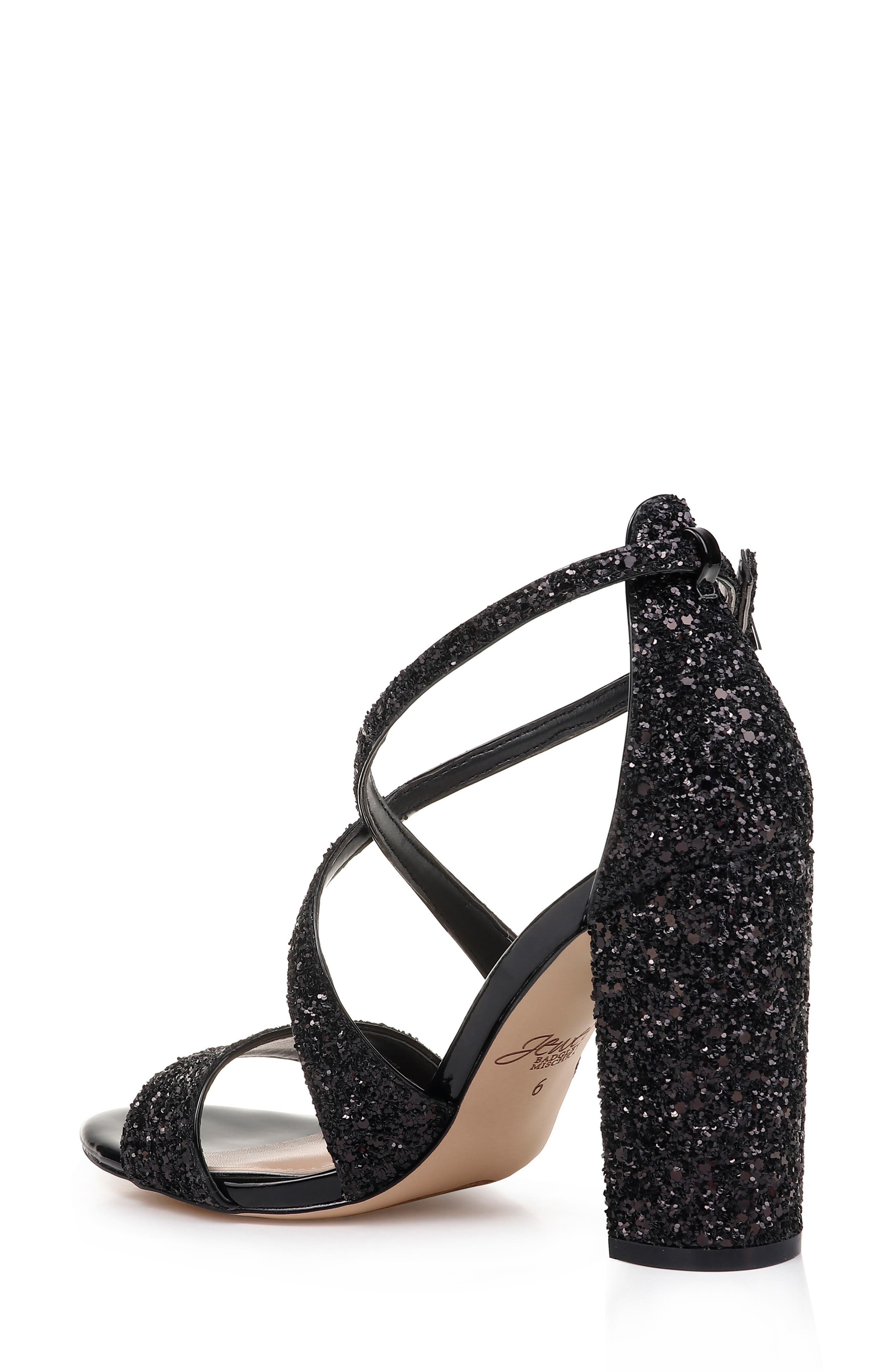 Cook Block Heel Glitter Sandal,                             Alternate thumbnail 2, color,                             BLACK LEATHER