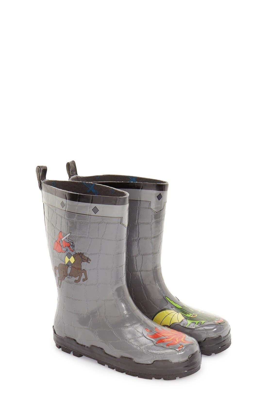 'Dragon Knight' Waterproof Rain Boot,                             Main thumbnail 1, color,                             020
