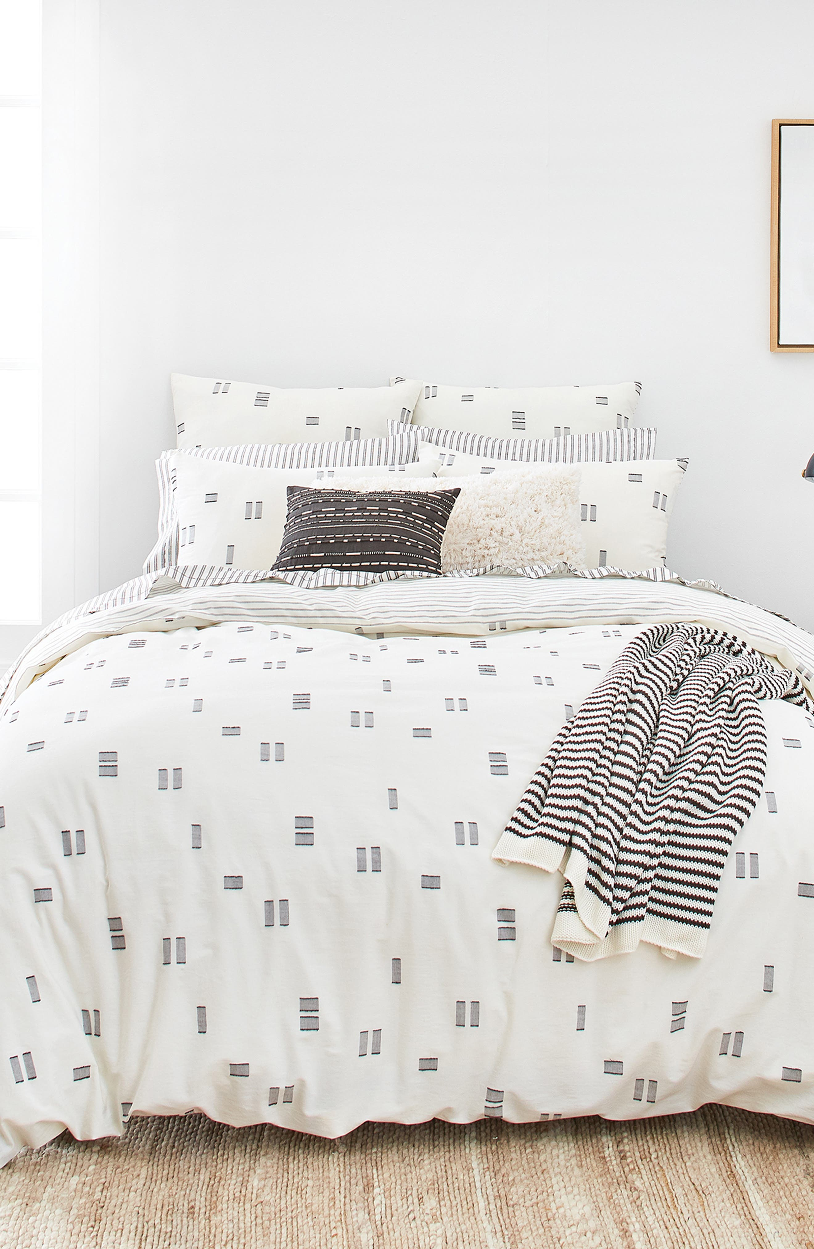 Crosshatched Comforter & Sham Set,                         Main,                         color, IVORY