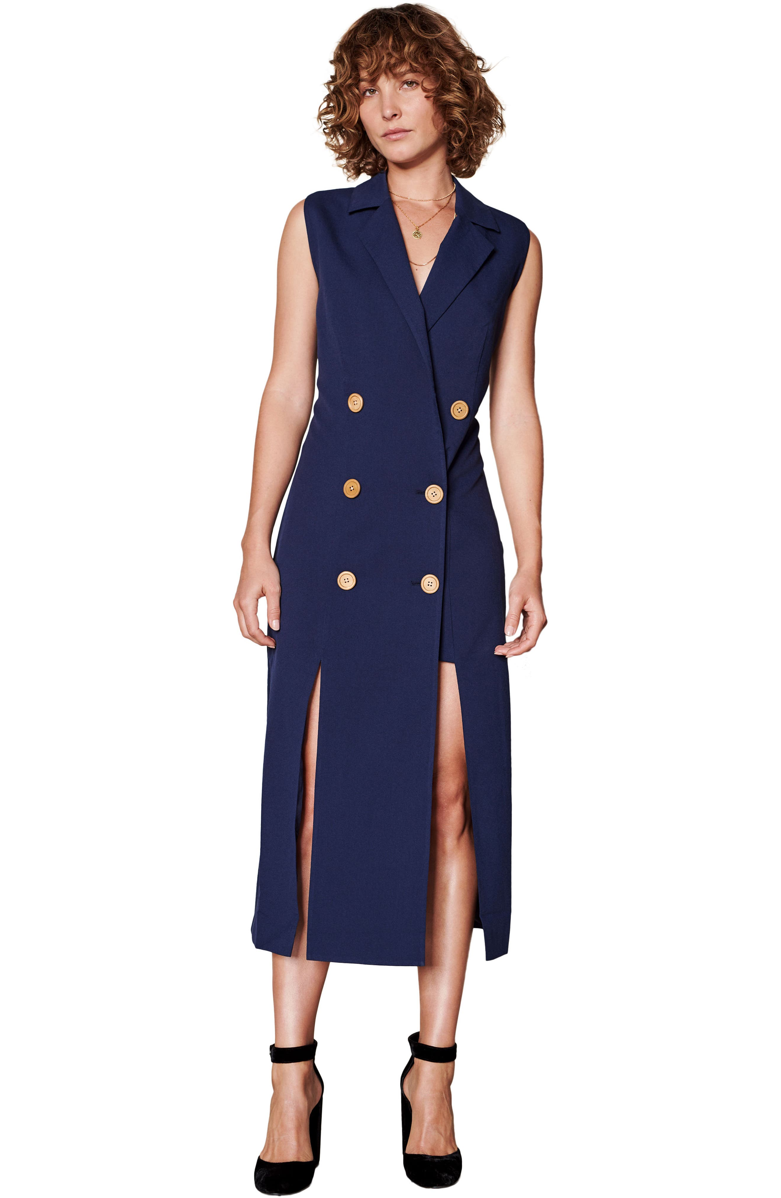 Brigitte Midi Dress,                             Alternate thumbnail 8, color,                             NAVY