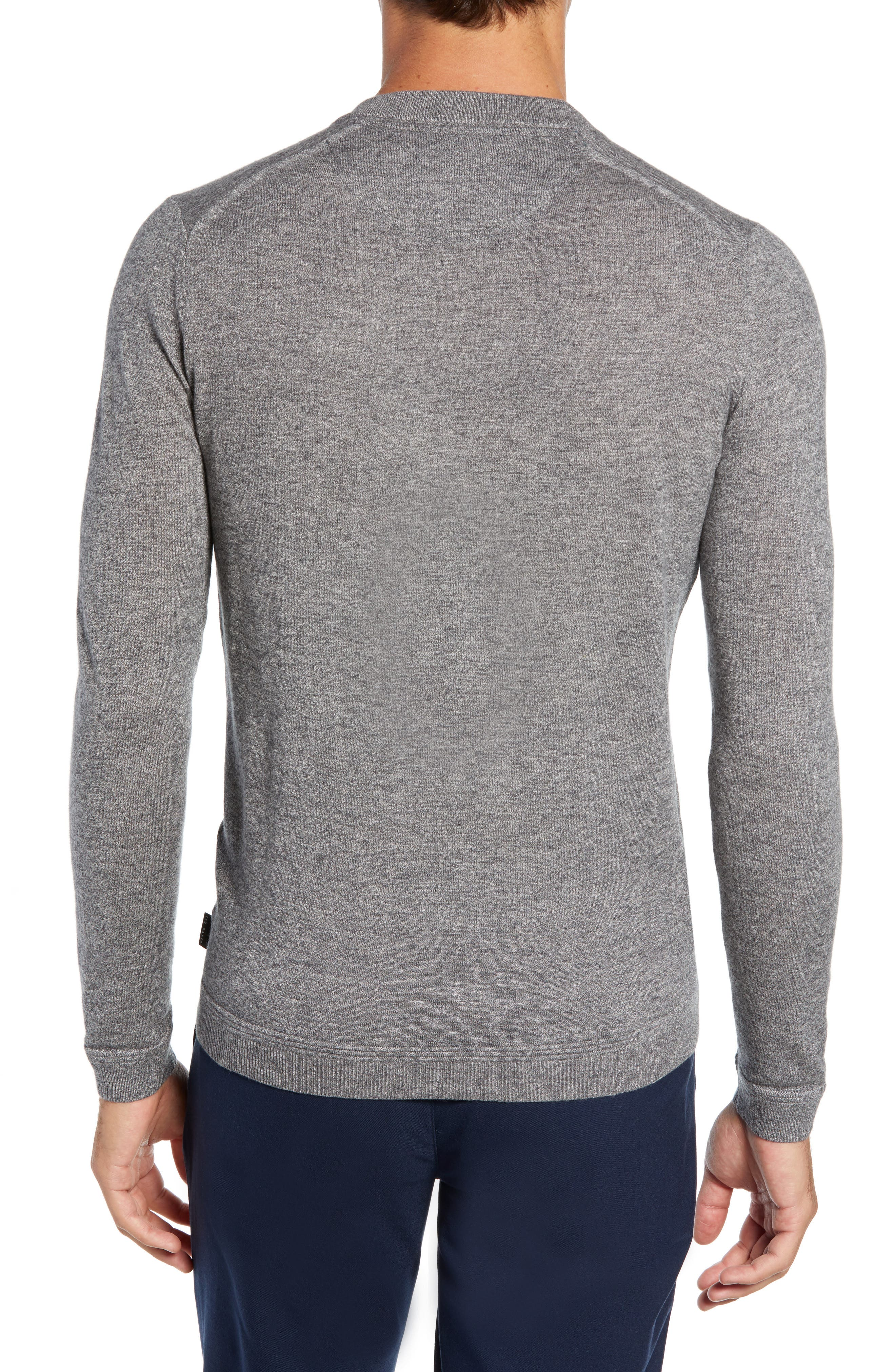 Noel Slim Fit V-Neck Wool Blend Sweater,                             Alternate thumbnail 2, color,                             GREY