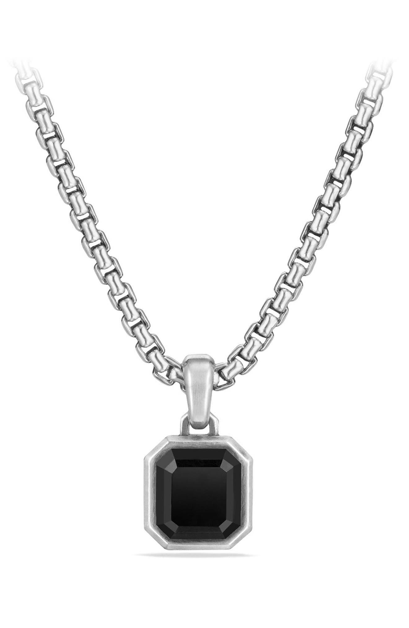 Emerald Cut Semiprecious Stone Amulet,                             Main thumbnail 1, color,                             SILVER/ BLACK ONYX