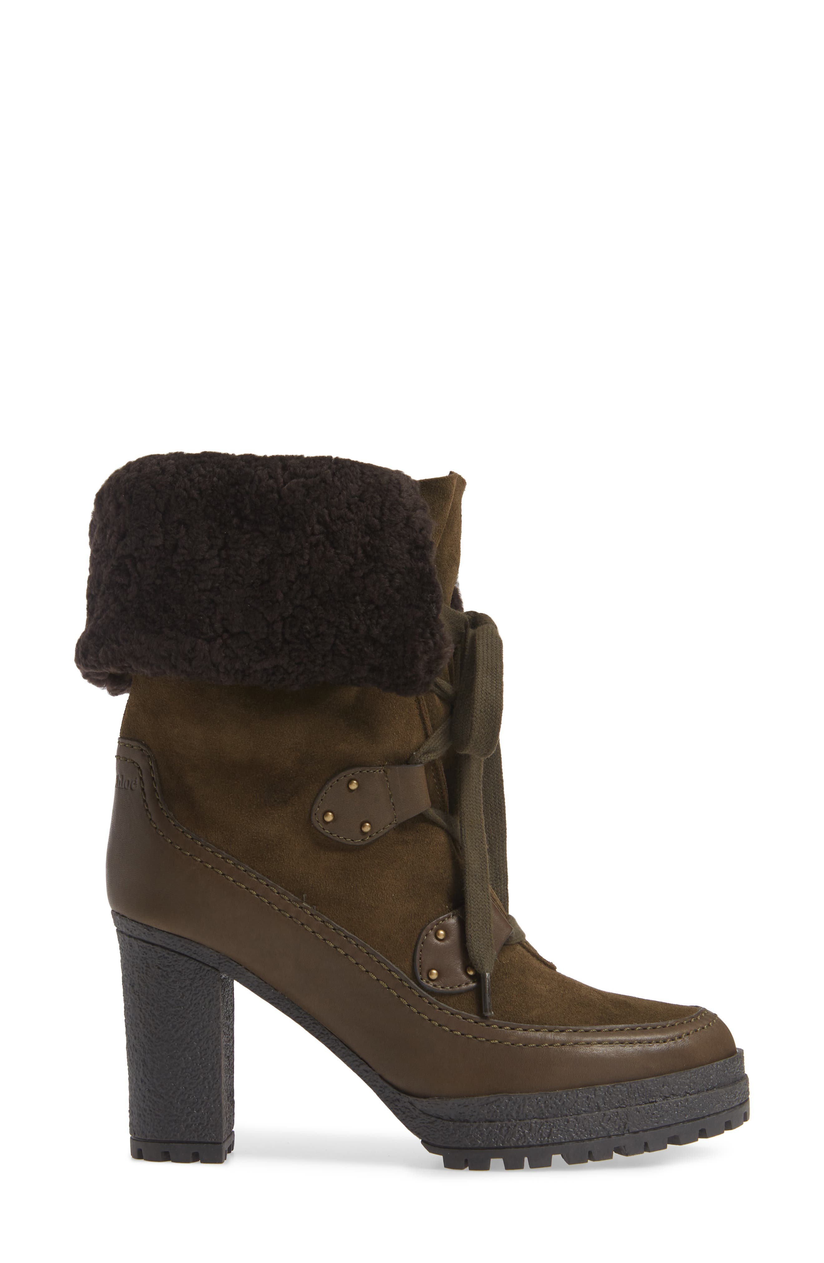 SEE BY CHLOÉ,                             Verena Shearling Cuff Bootie,                             Alternate thumbnail 3, color,                             300