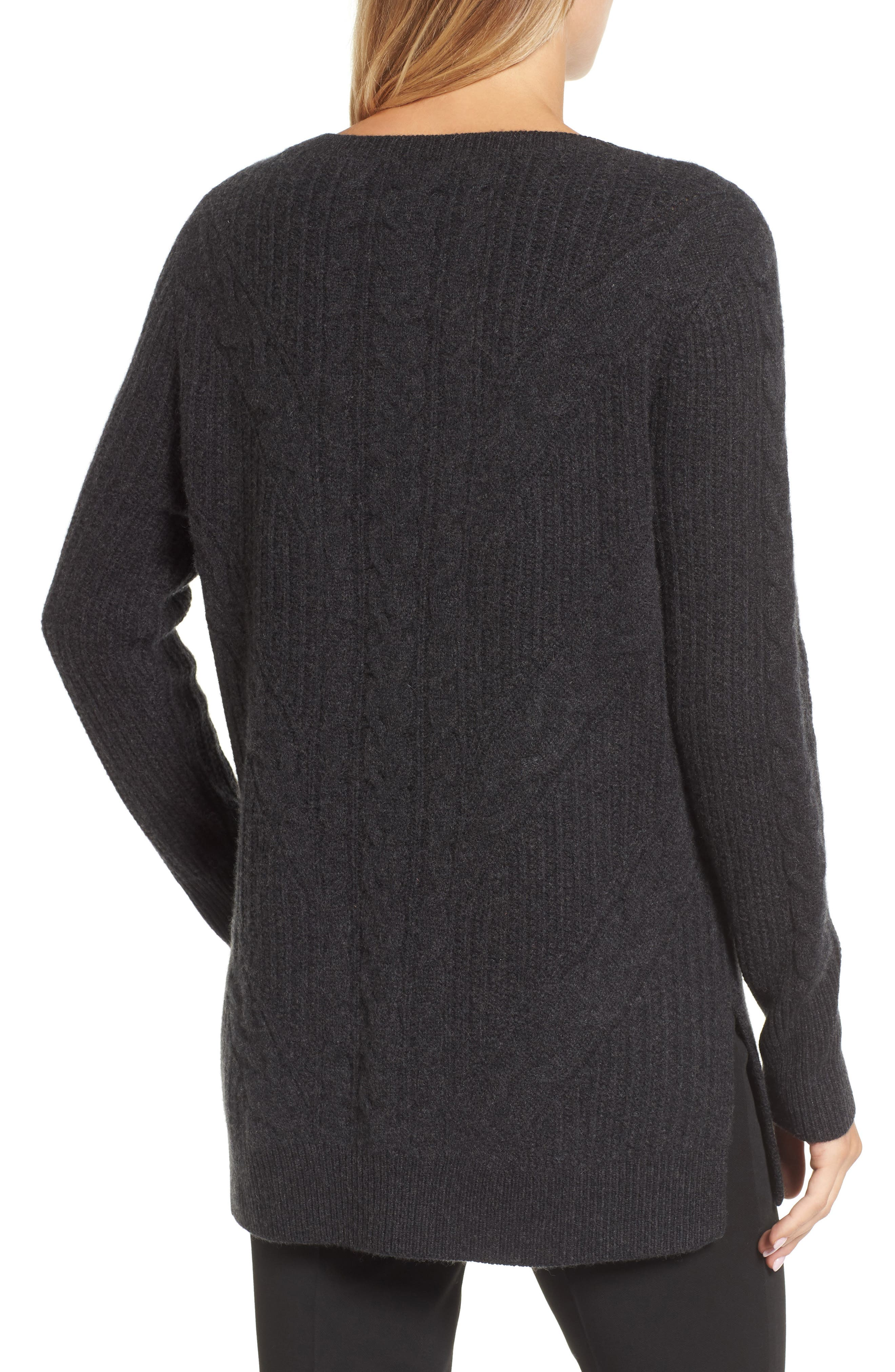 Cashmere Cable Tunic Sweater,                             Alternate thumbnail 2, color,                             021
