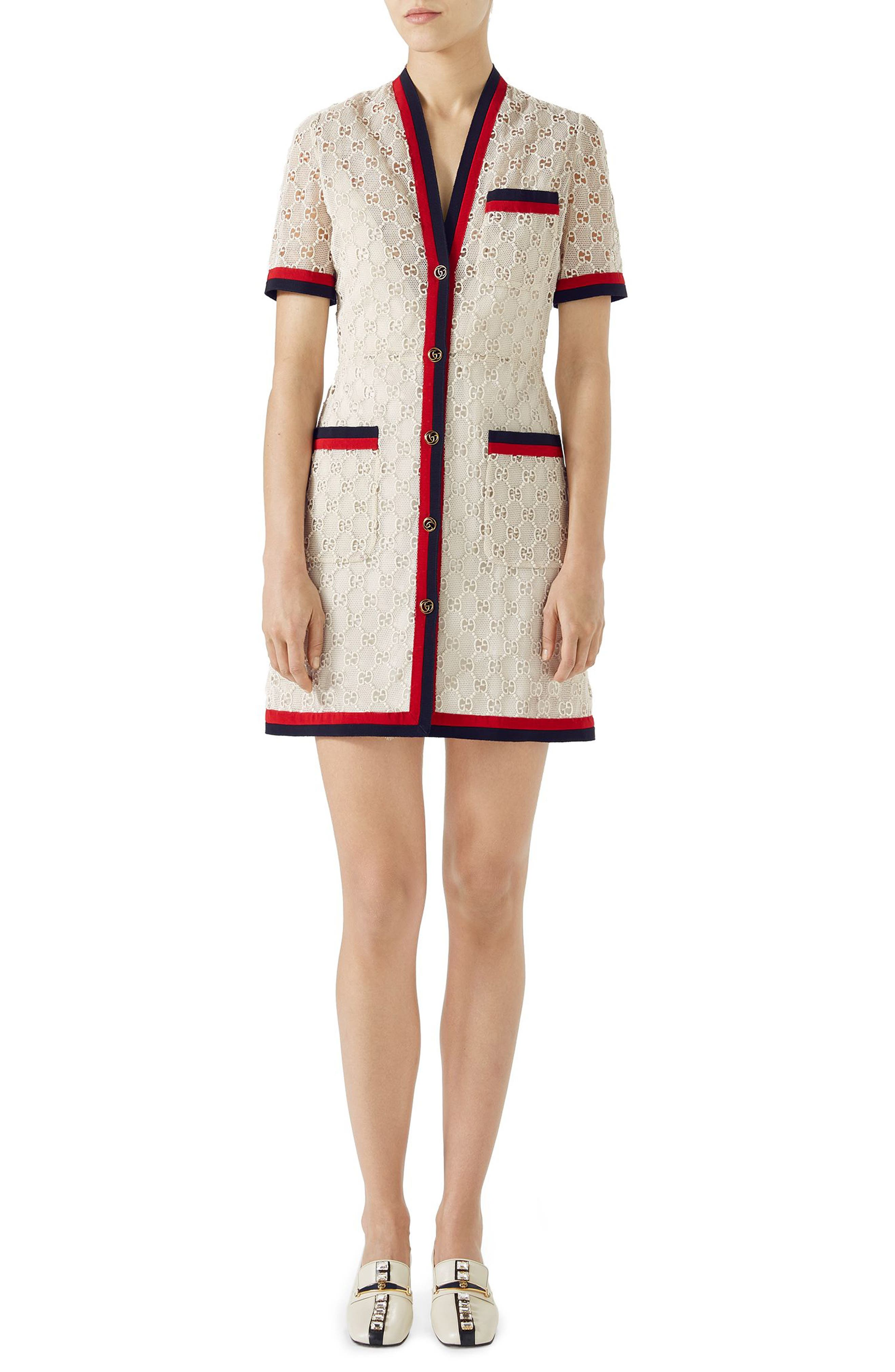 GG Macramé Dress,                         Main,                         color, GARDENIA/ RED/ BK/ RED