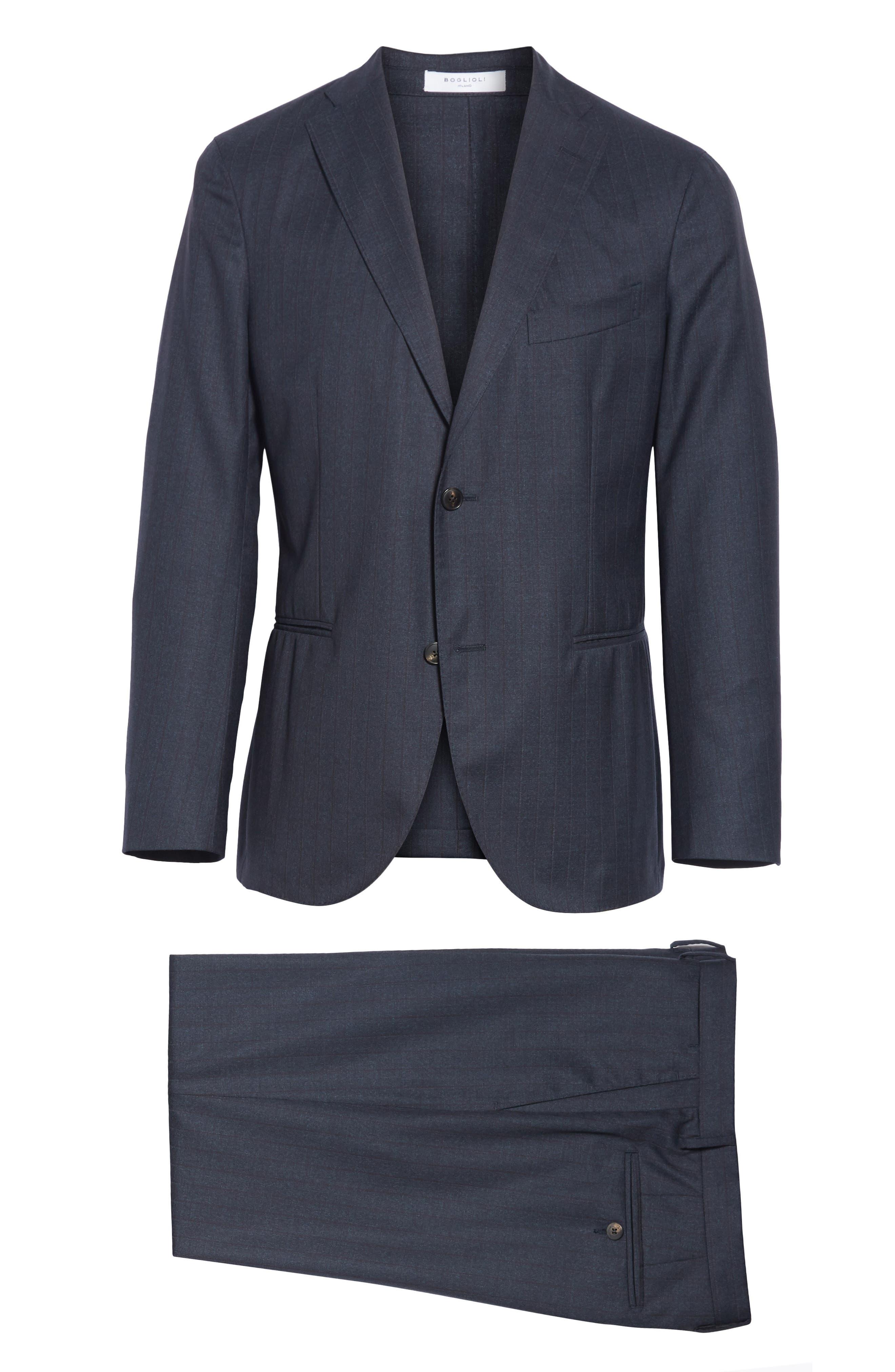 Trim Fit Stripe Wool Suit,                             Alternate thumbnail 8, color,                             NAVY
