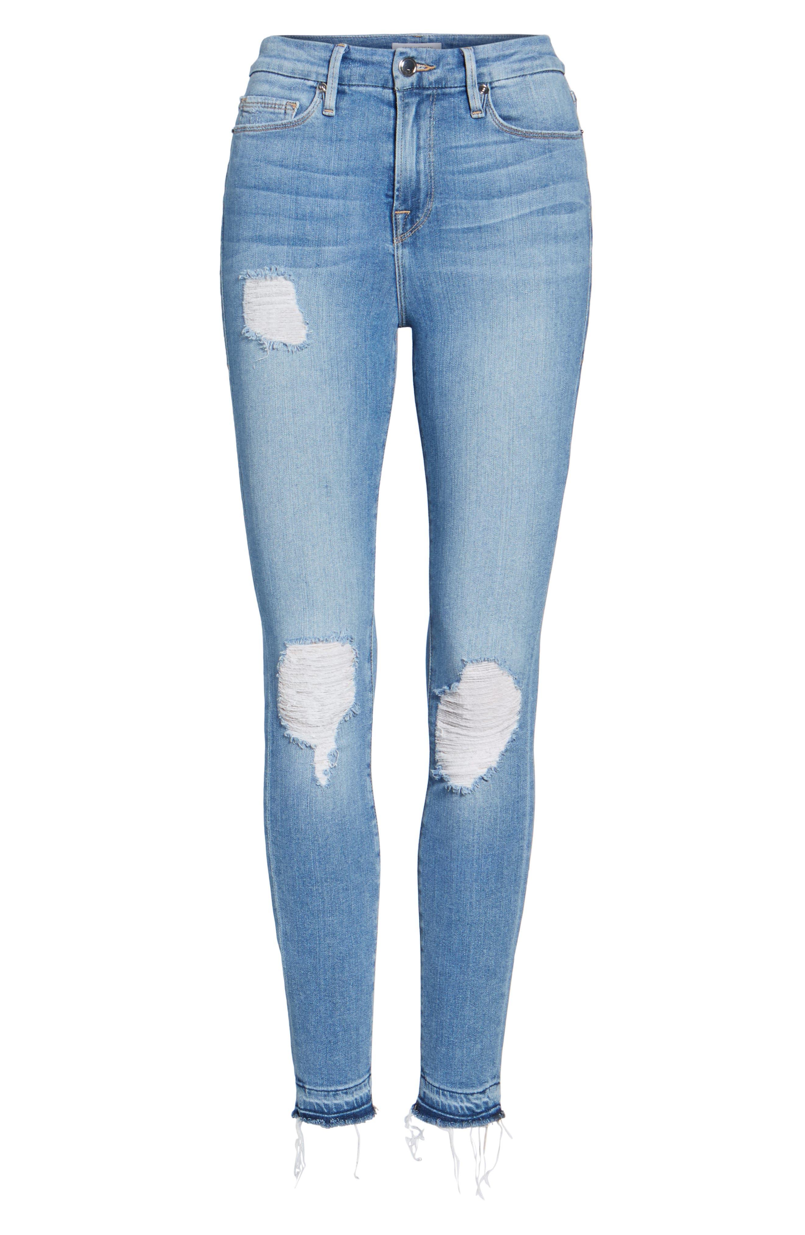 Good Legs Released Hem Skinny Jeans,                             Alternate thumbnail 6, color,                             401