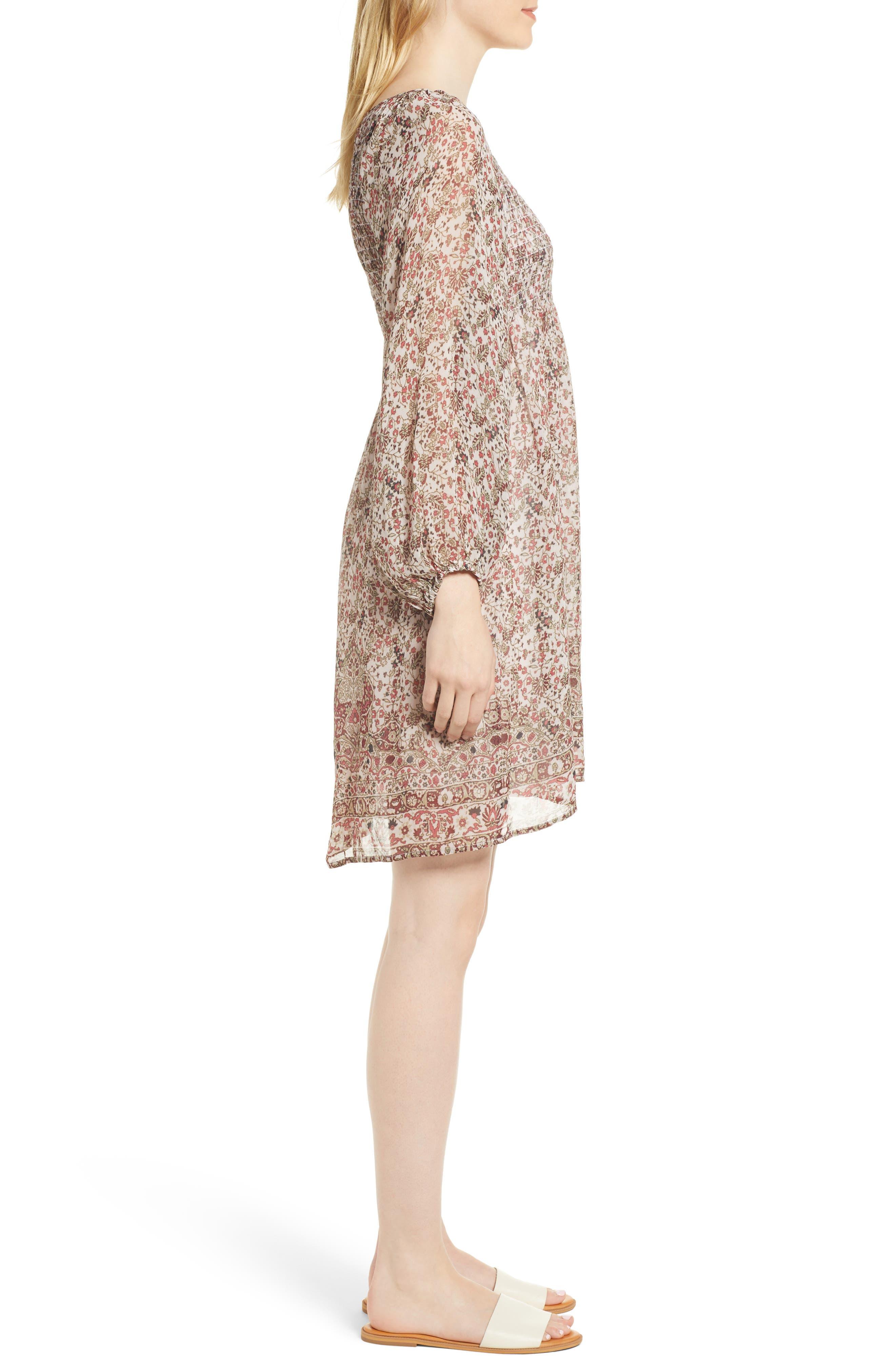 Sebastian Printed Smocked Dress,                             Alternate thumbnail 3, color,                             696