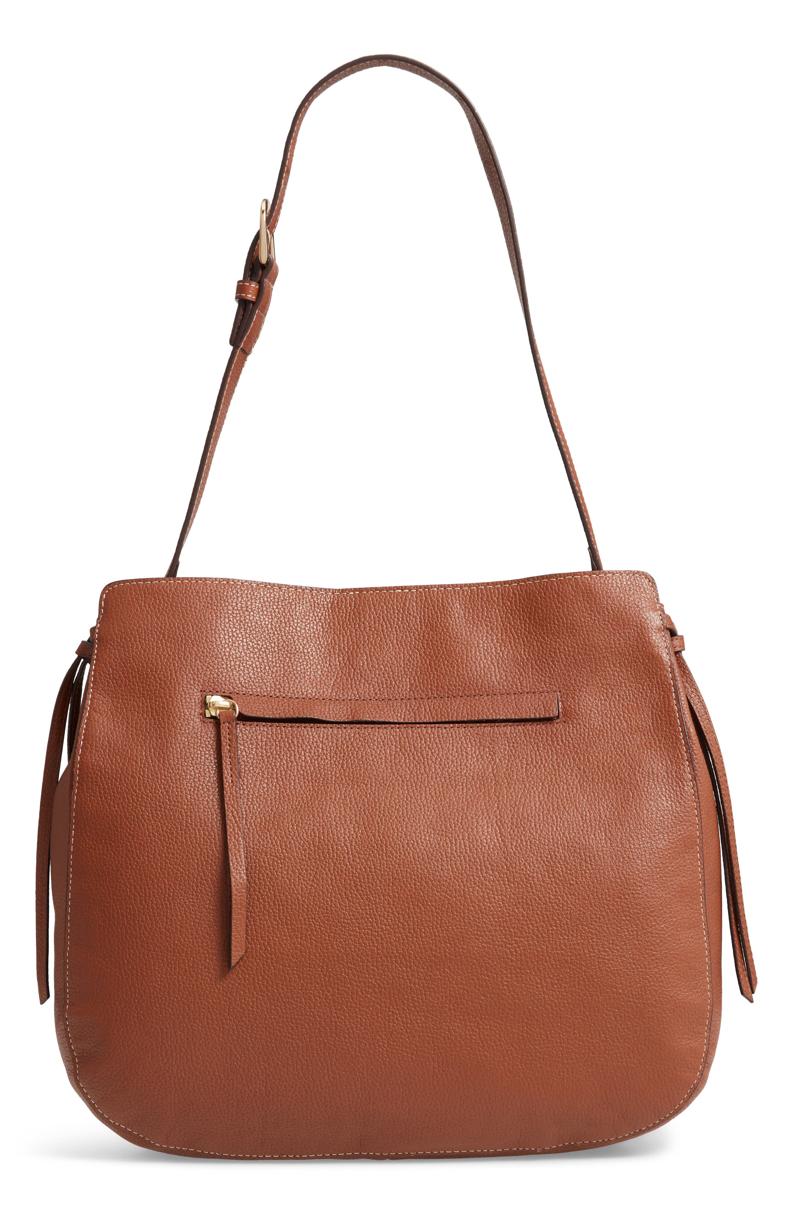 NORDSTROM Finley Leather Hobo, Main, color, BROWN AZTEC
