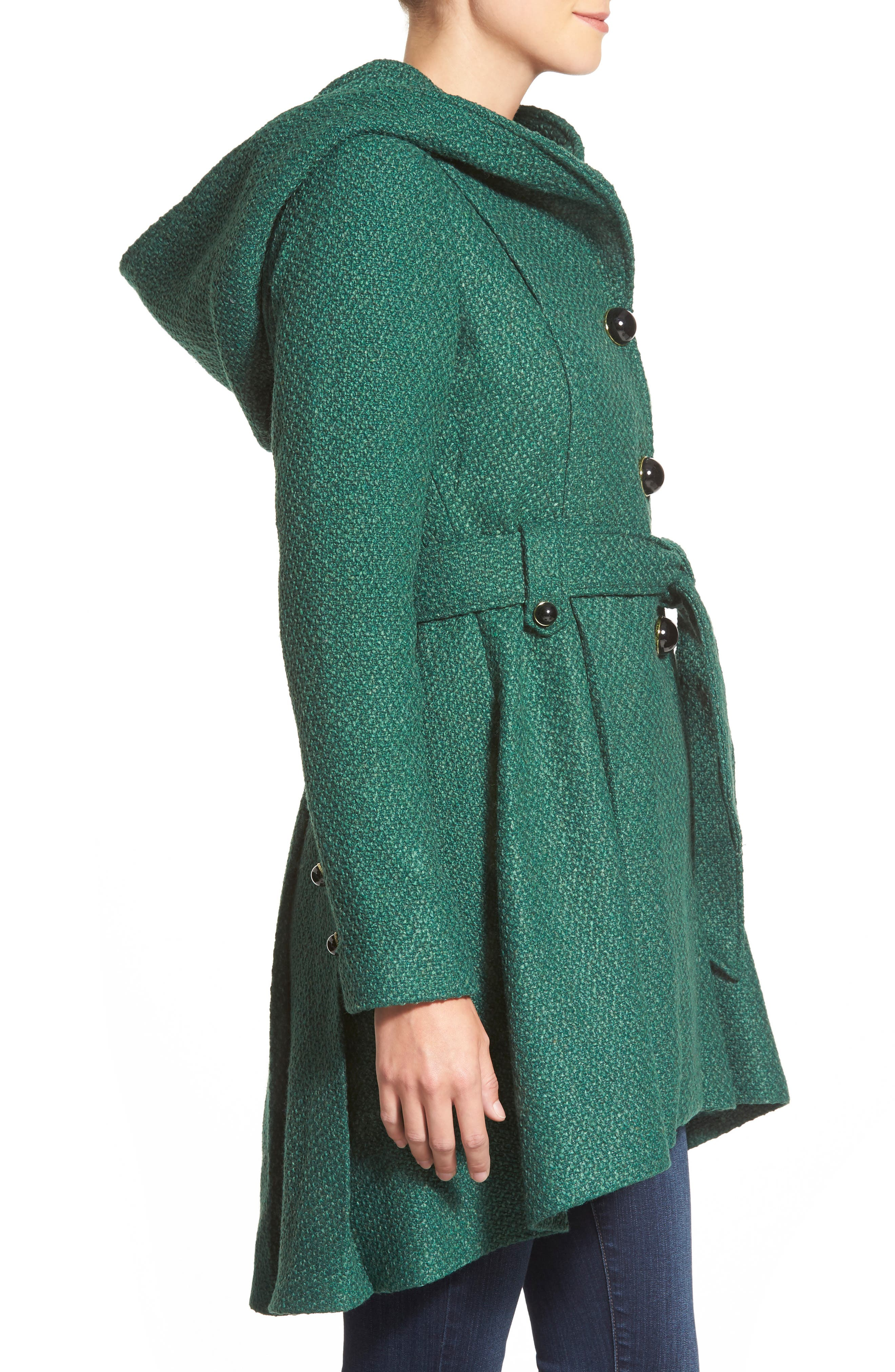Belted Hooded Skirted Coat,                             Alternate thumbnail 18, color,