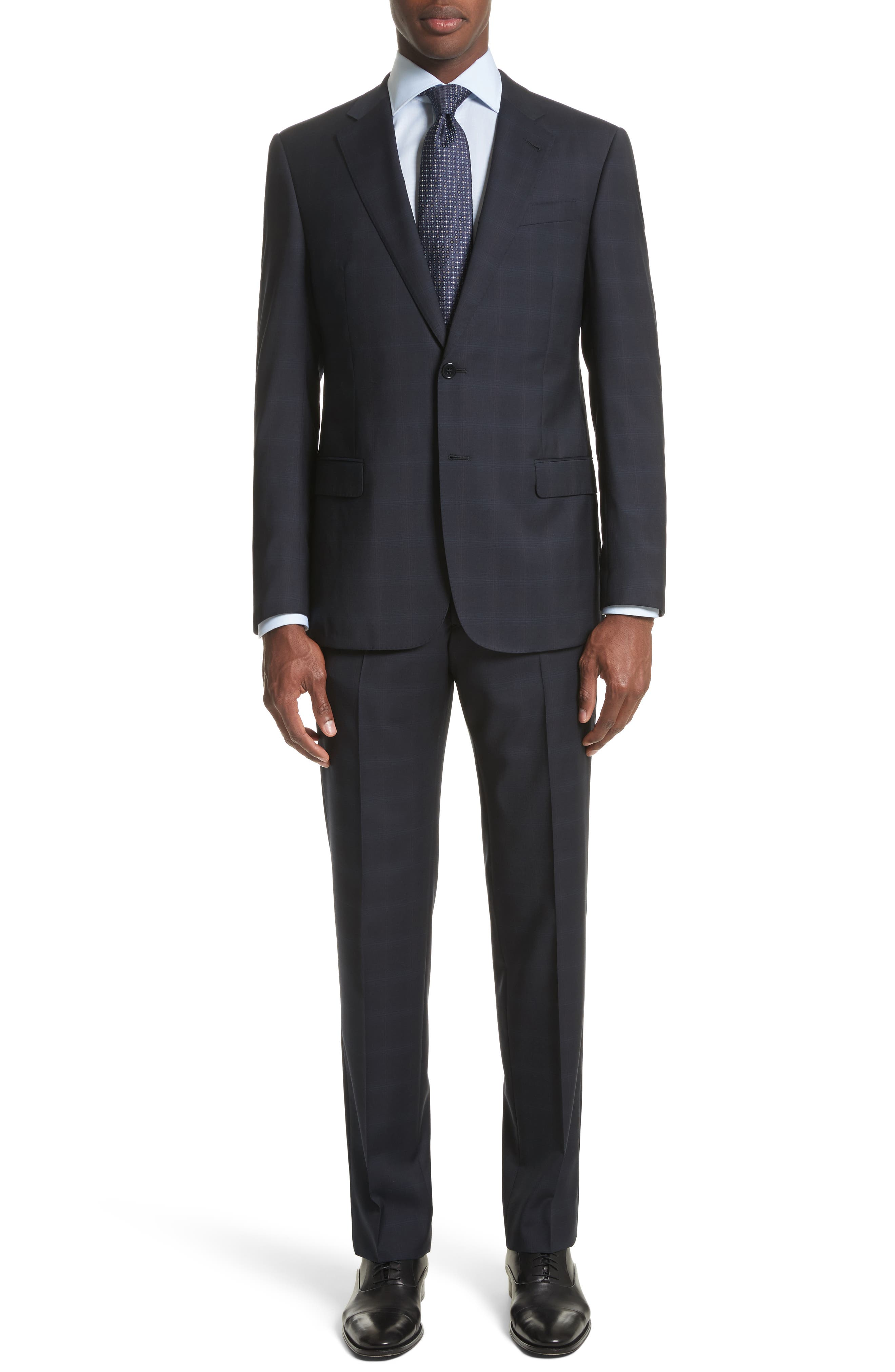 Trim Fit Plaid Wool Suit,                             Main thumbnail 1, color,                             465