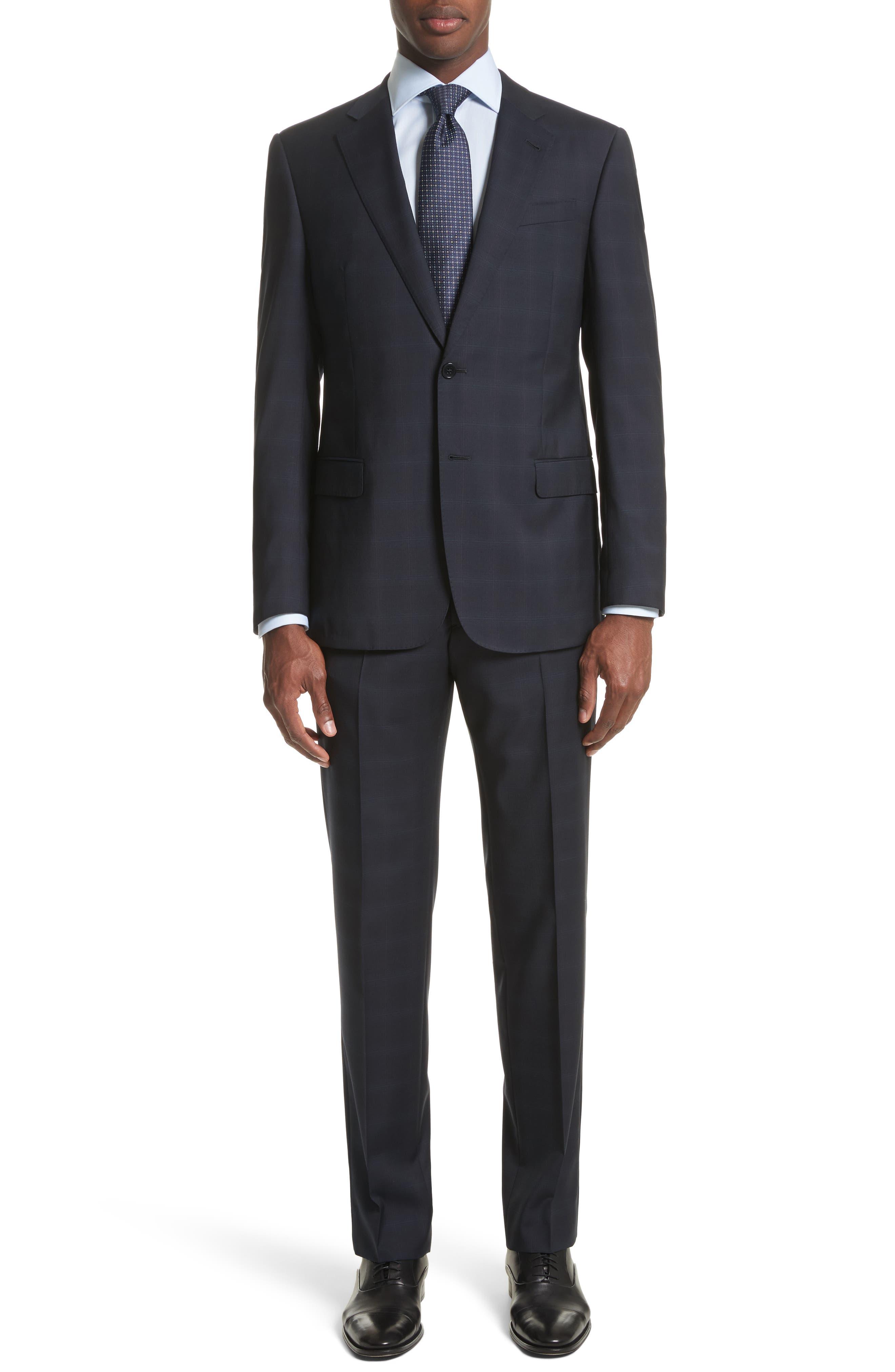 Trim Fit Plaid Wool Suit,                         Main,                         color, 465