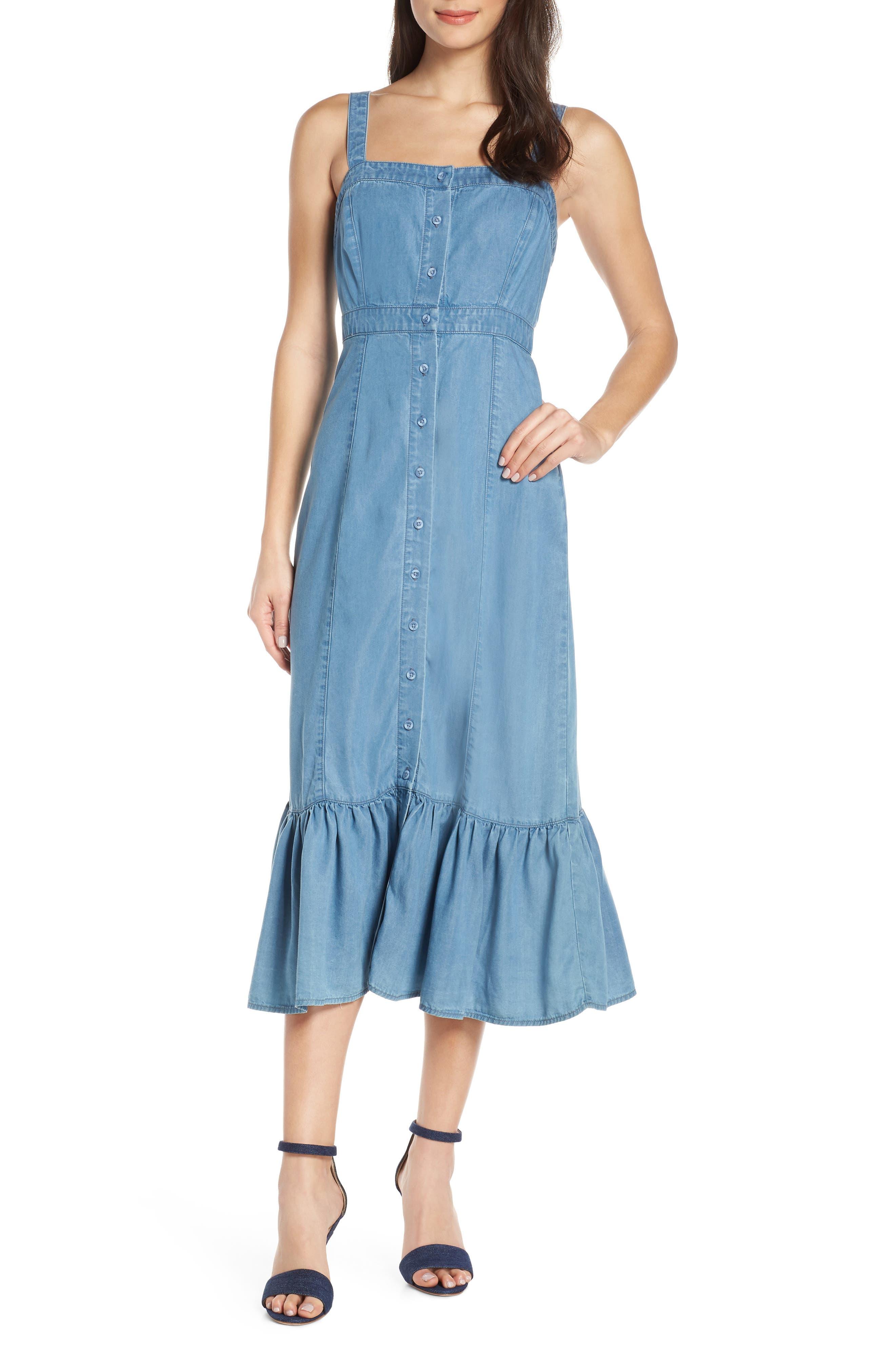 Bb Dakota Babe Next Door Denim Midi Dress, Blue