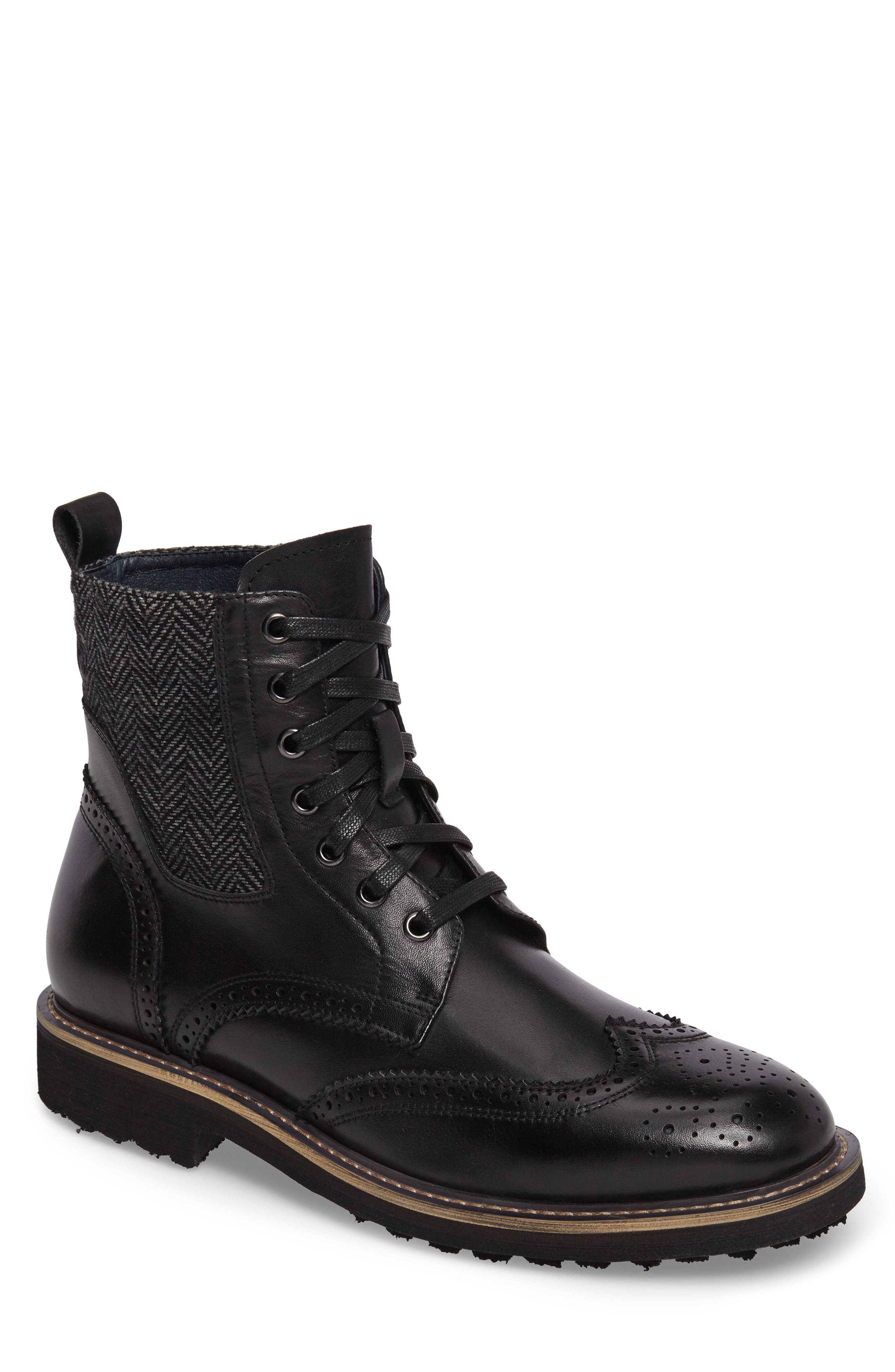 Farber Wingtip Boot,                             Main thumbnail 1, color,                             BLACK LEATHER