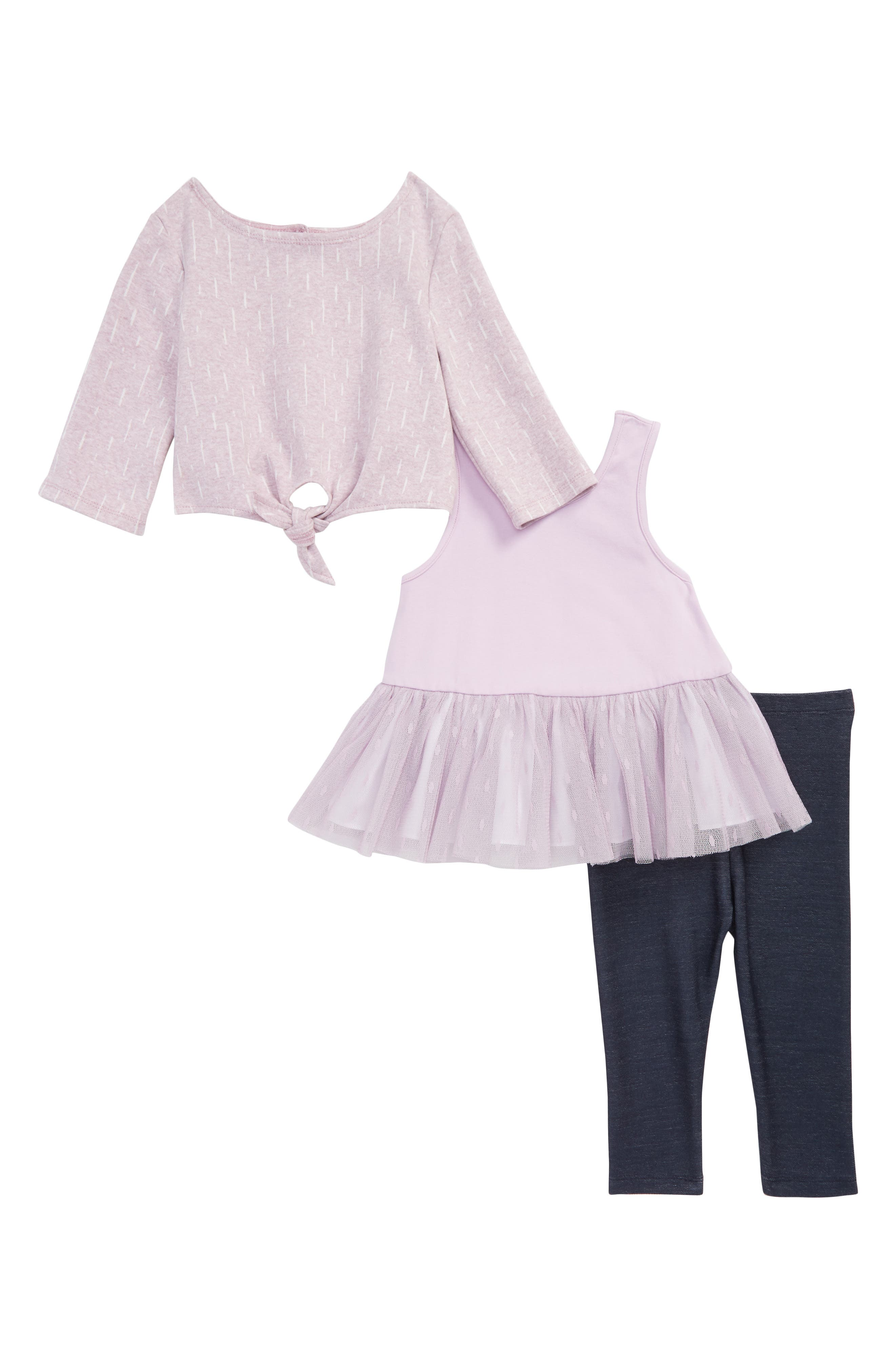 Tie Front Sweater, Dress & Leggings Set,                             Main thumbnail 1, color,                             535