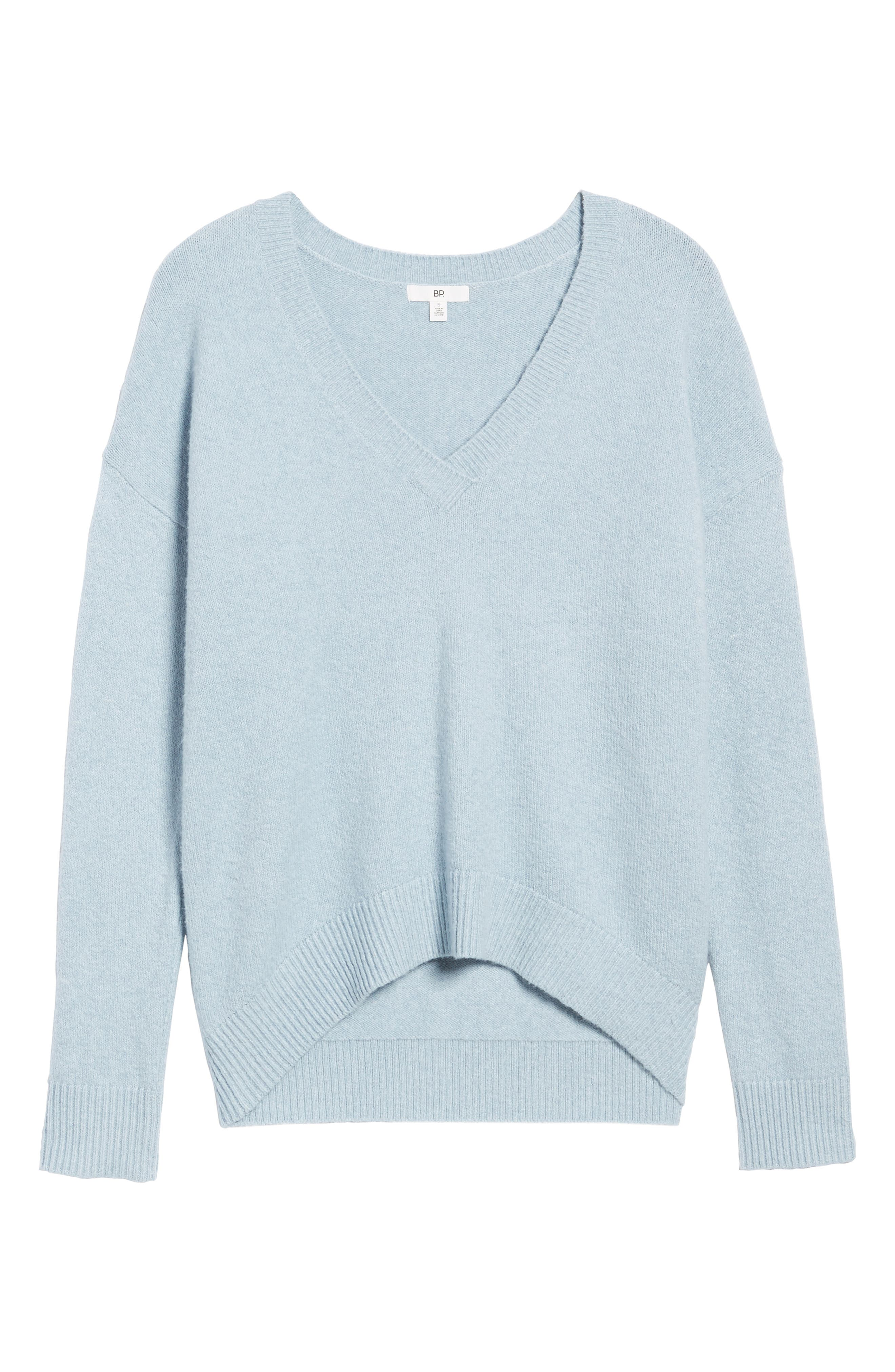 V-Neck High/Low Sweater,                             Alternate thumbnail 17, color,