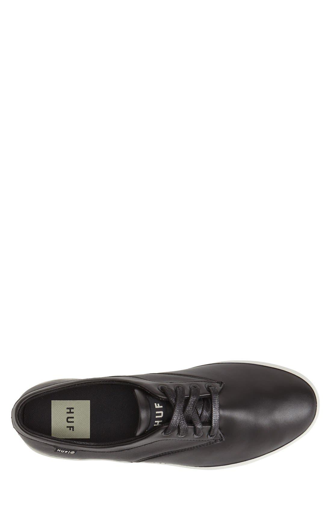HUF,                             'Sutter' Leather Sneaker,                             Alternate thumbnail 4, color,                             001