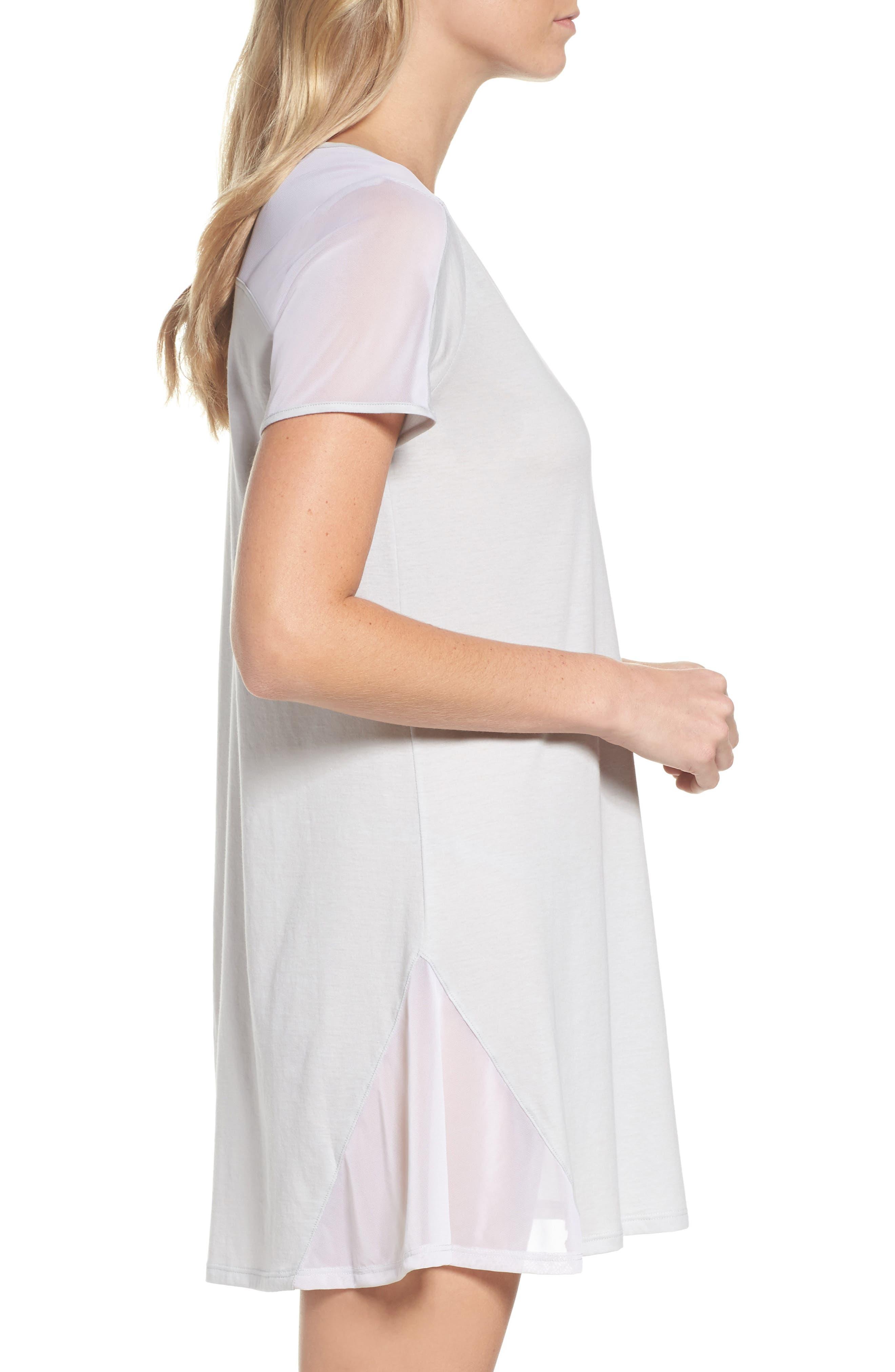 Cotton Sleep Shirt,                             Alternate thumbnail 3, color,                             SOFT GRAY