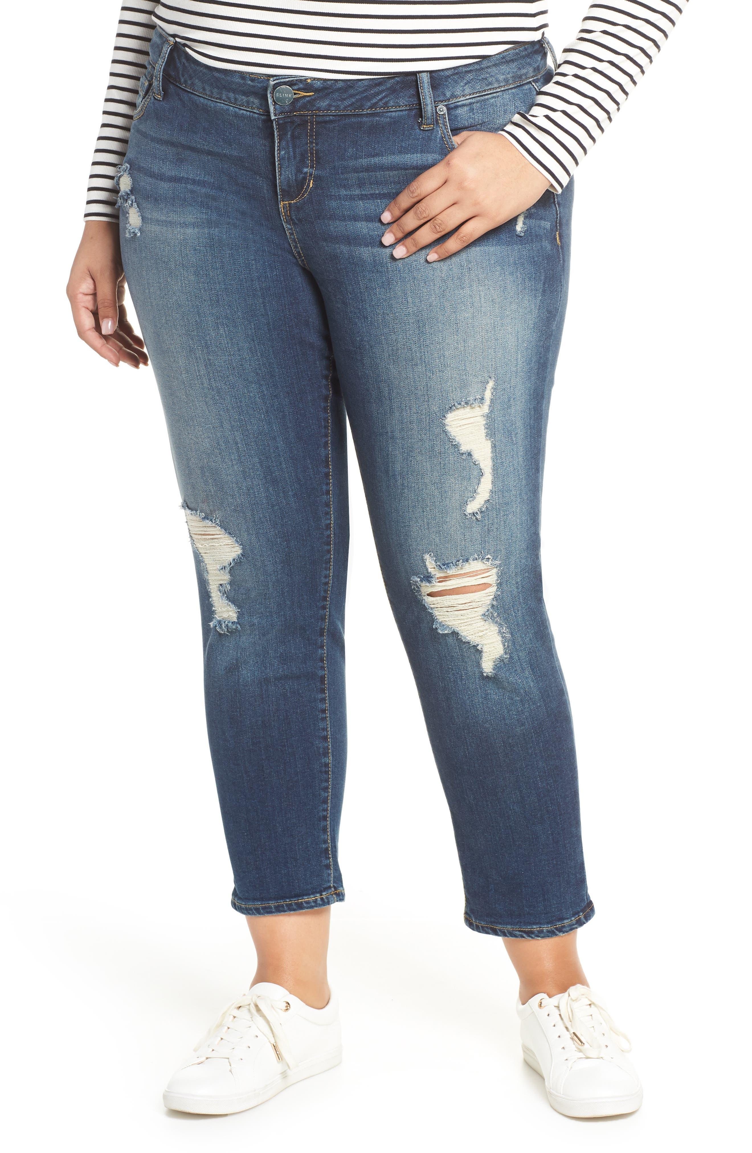 Ripped Roll Cuff Boyfriend Jeans,                         Main,                         color, HUNTER