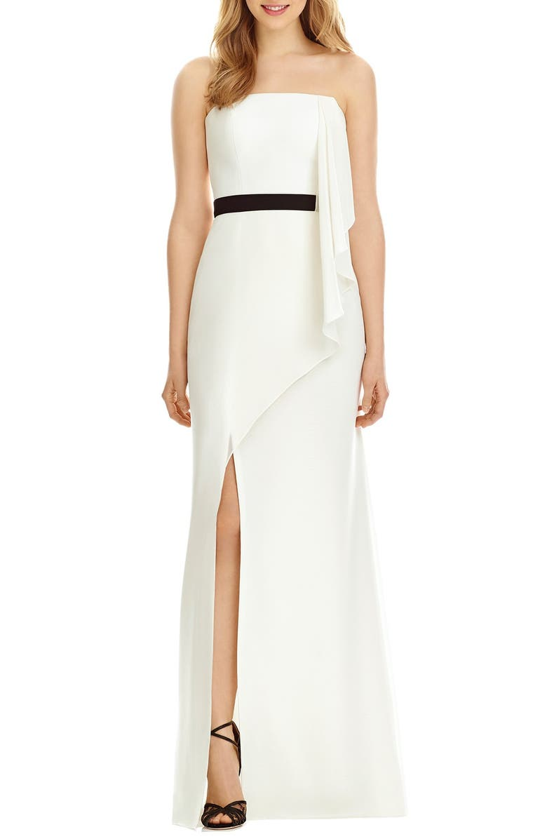 55b0af80f17 Social Bridesmaids Strapless Georgette Drape Front Maxi Dress ...