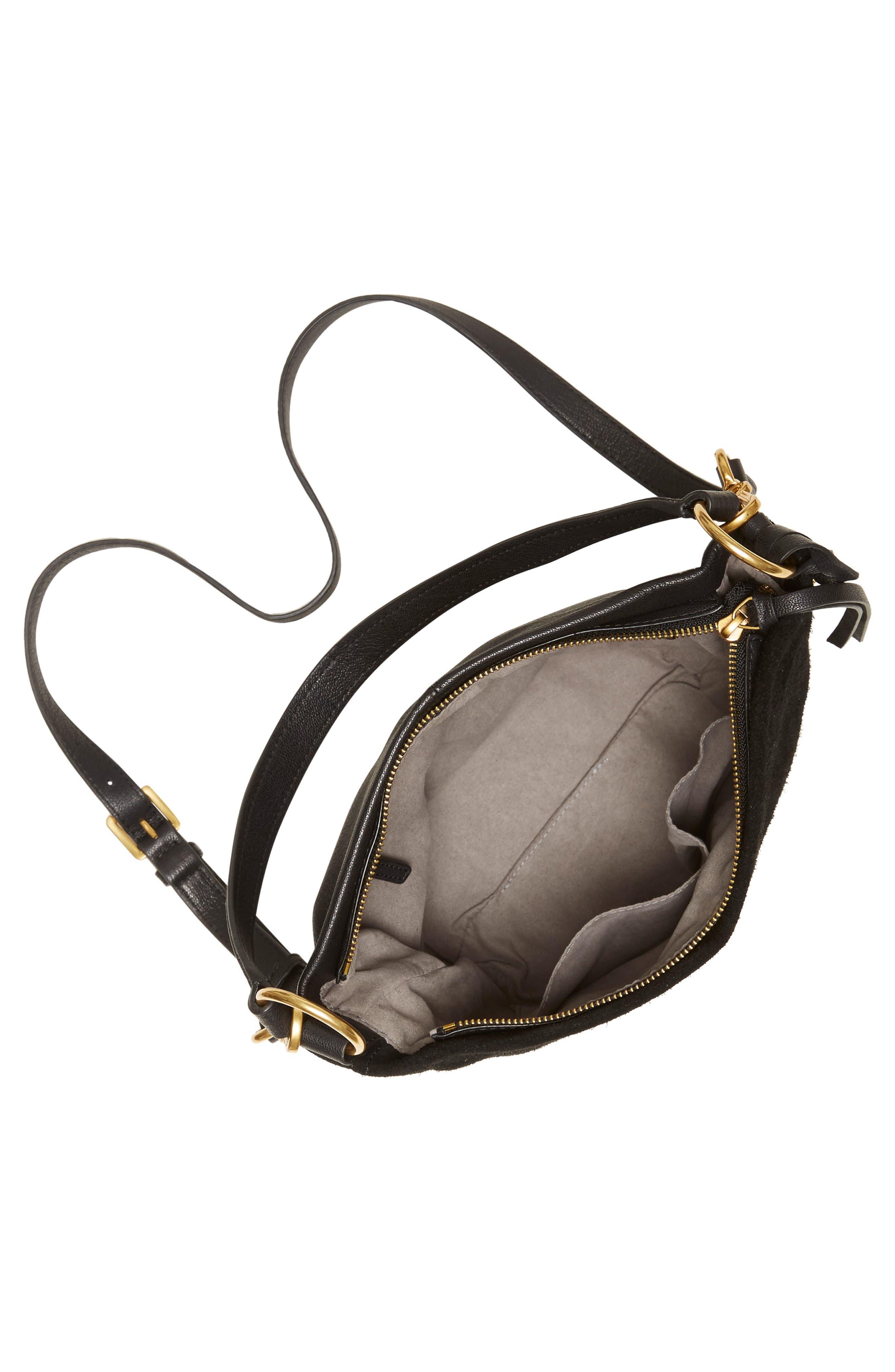 Suza Leather Bucket Bag,                             Alternate thumbnail 3, color,                             JET BLACK