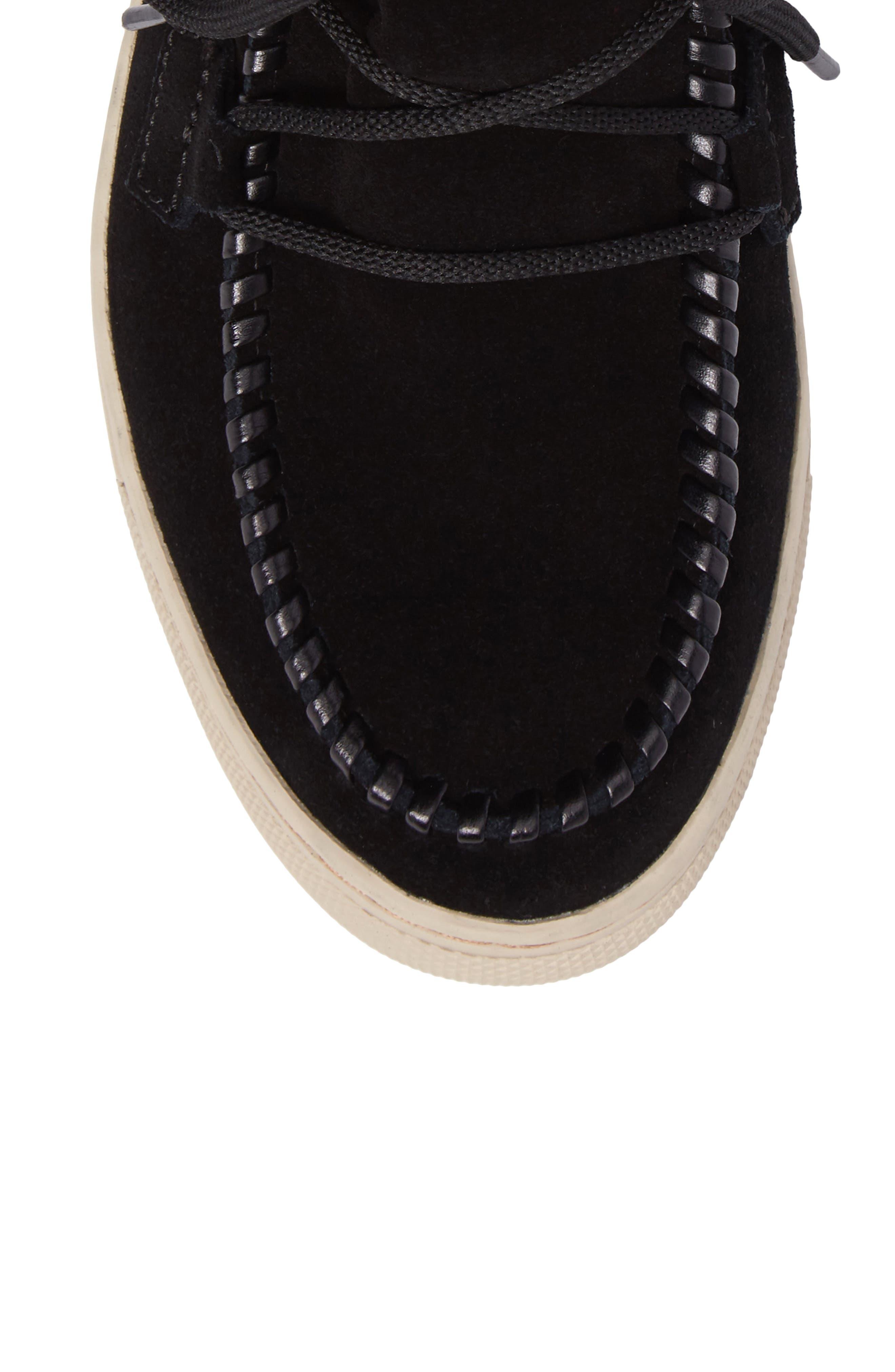 Fabiola Waterproof High Top Sneaker,                             Alternate thumbnail 5, color,                             BLACK SUEDE
