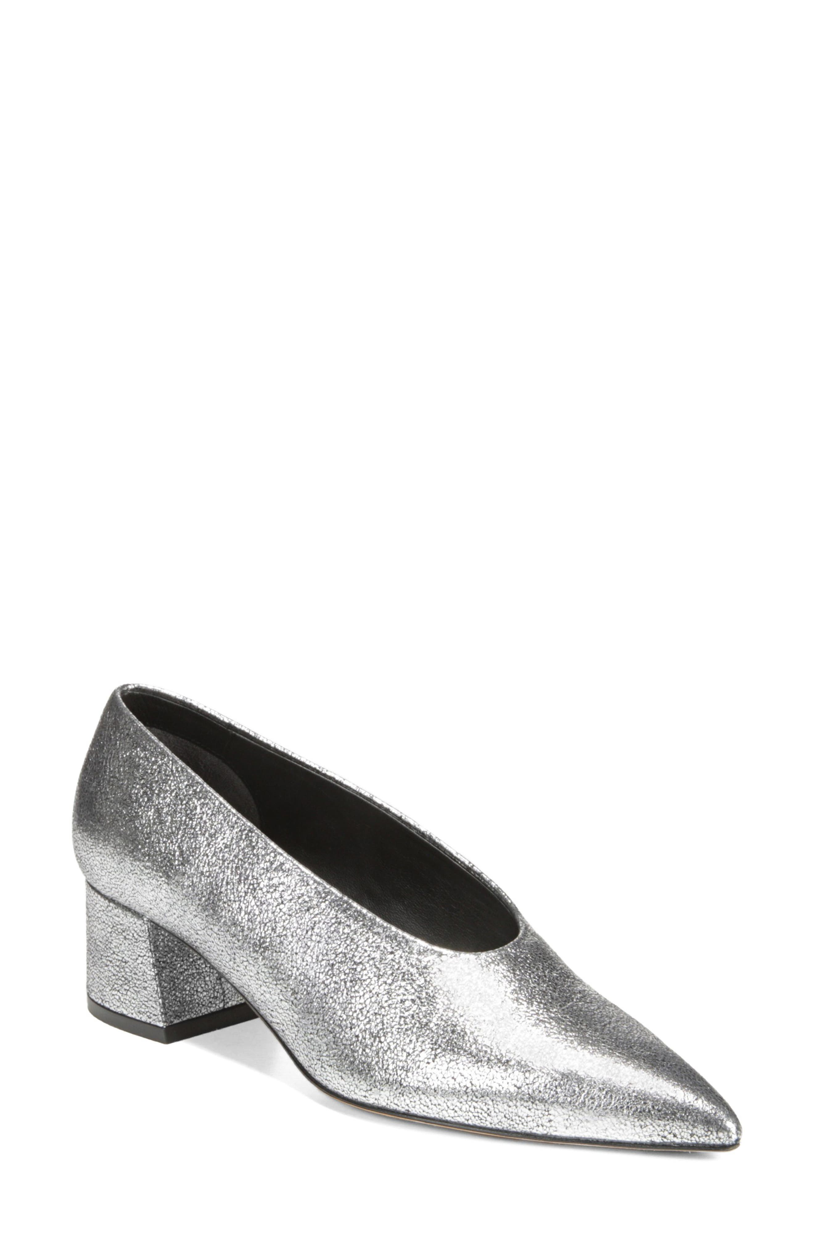 Women'S Rafe Metallic Leather Pointed Toe Pumps in Silver
