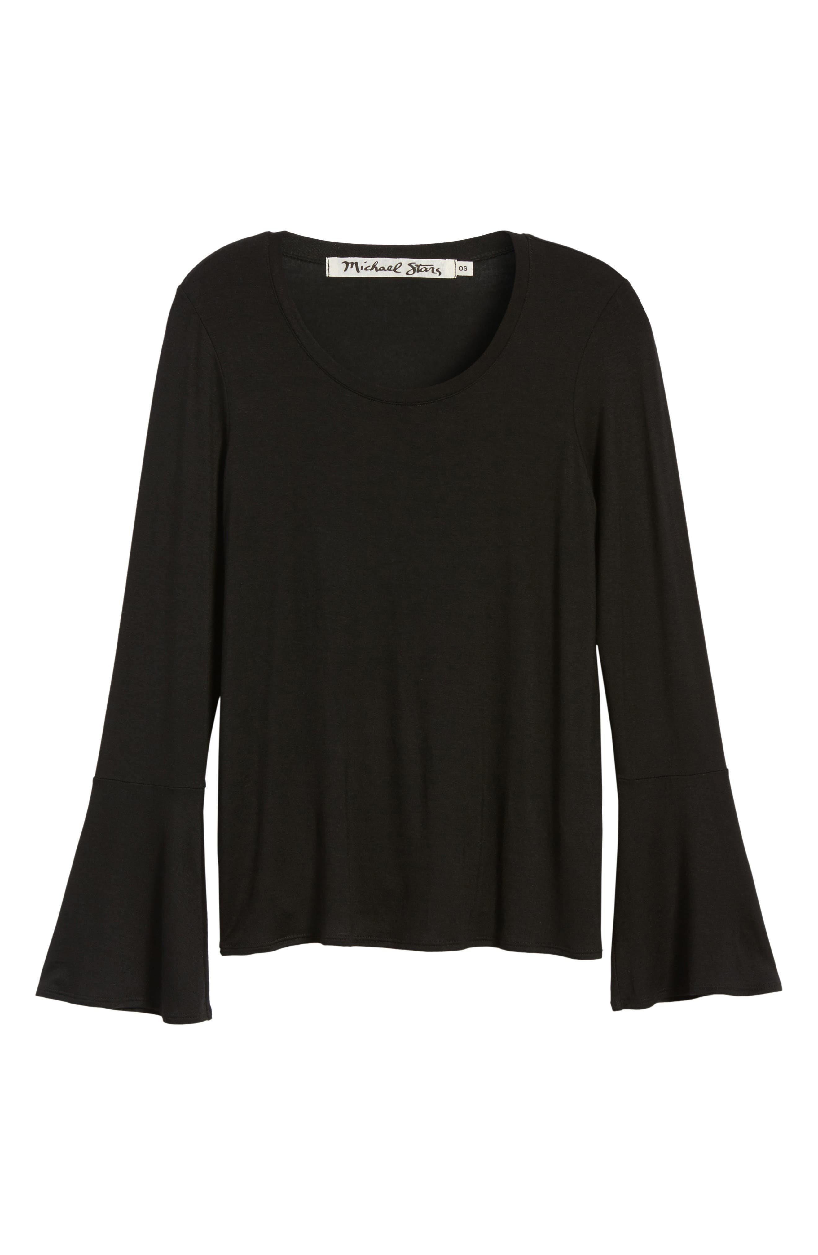 Bell Sleeve Tee,                             Alternate thumbnail 6, color,                             001