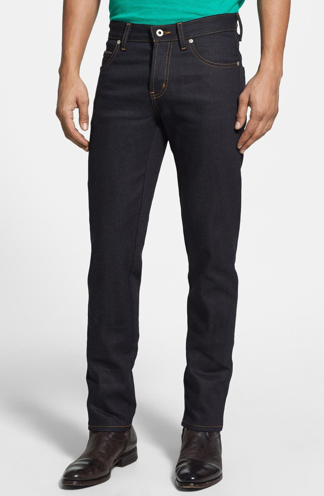 'Super Skinny Guy' Skinny Fit Selvedge Jeans,                             Main thumbnail 1, color,                             DEEP INDIGO SELVEDGE-STRETCH