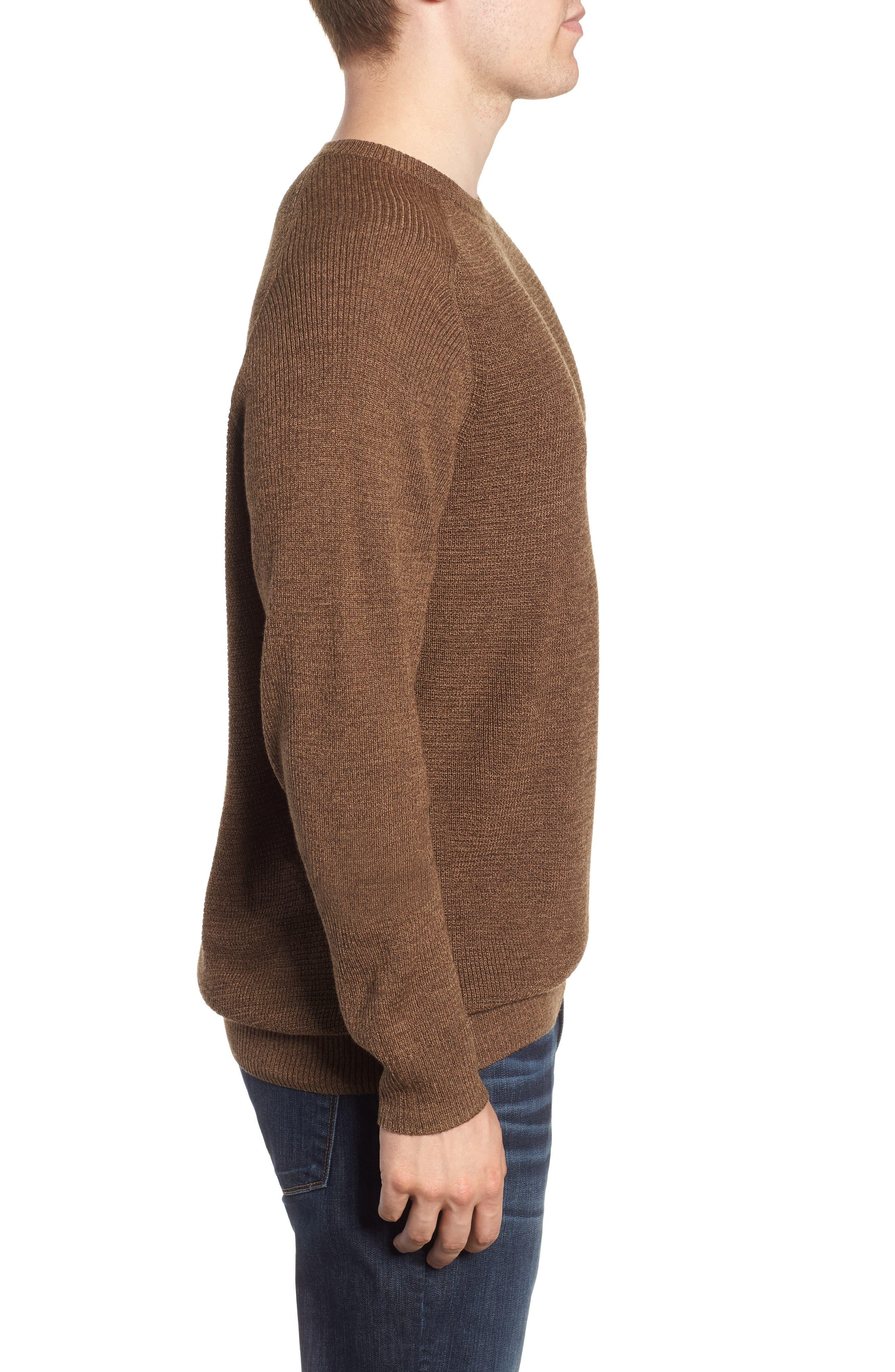 Crewneck Wool Blend Sweater,                             Alternate thumbnail 3, color,                             BROWN MAJOR