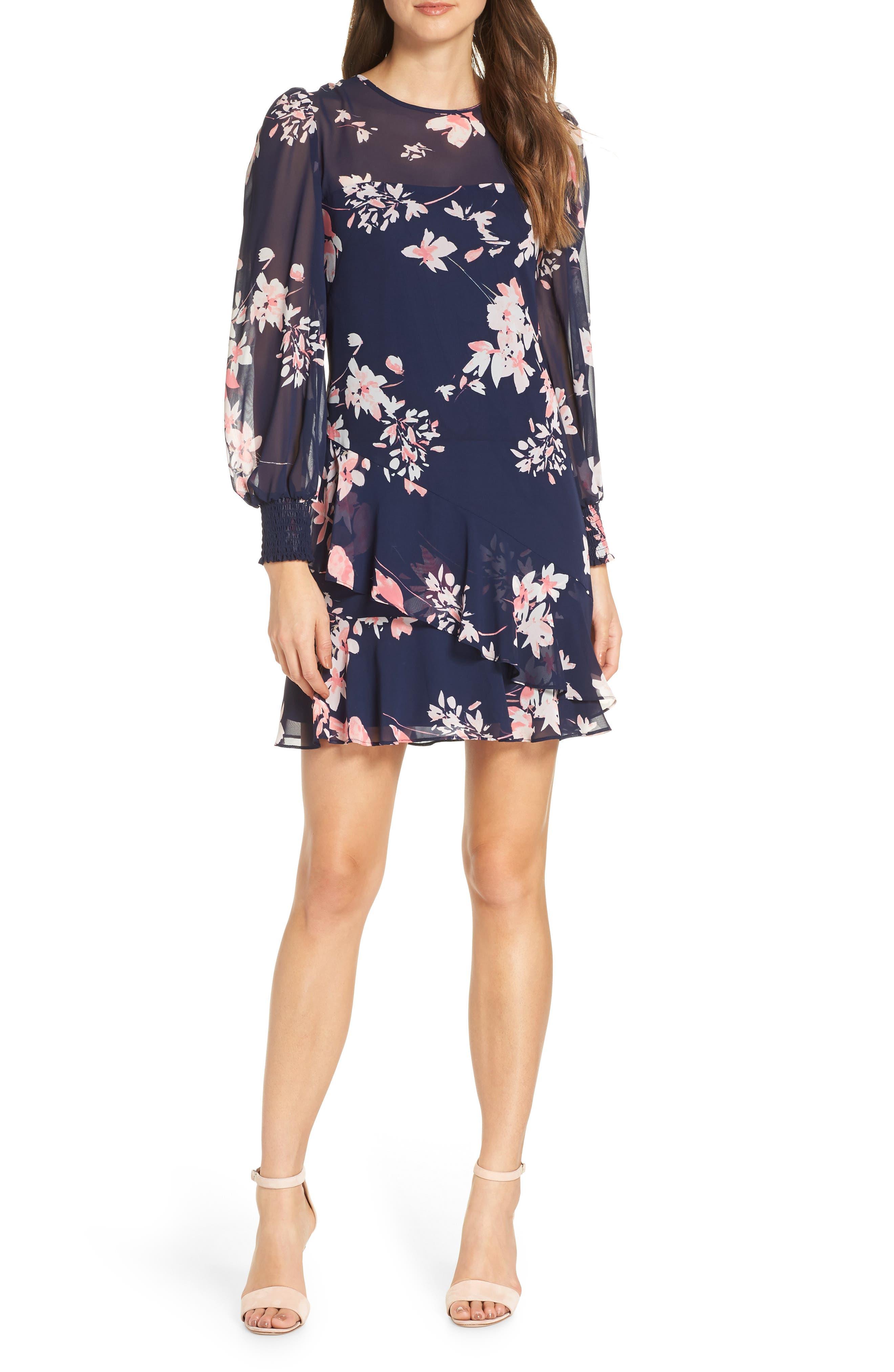 Eliza J Floral Asymmetrical Ruffle Shift Dress, Blue
