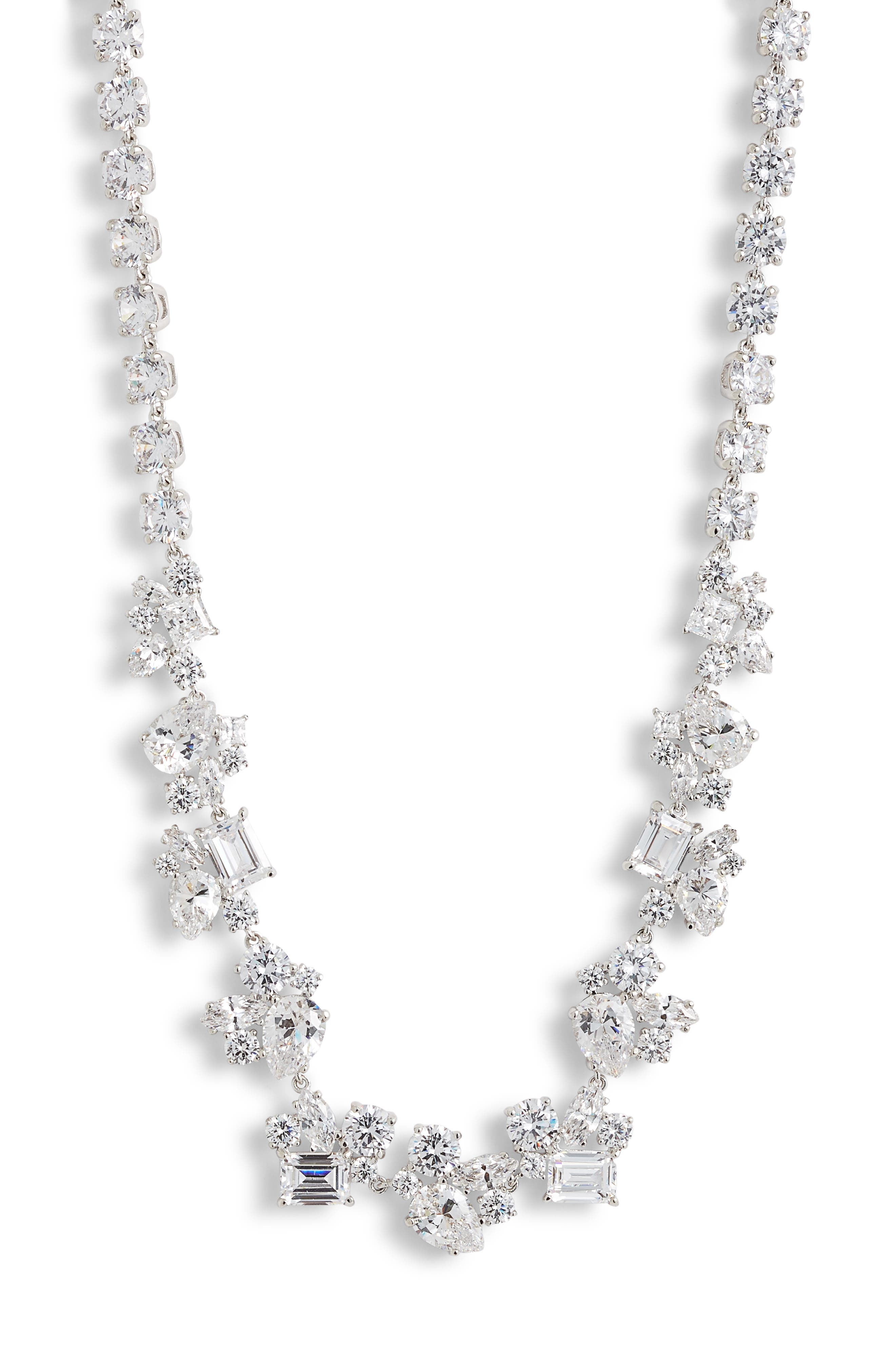 Cluster Cubic Zirconia Collar Necklace,                         Main,                         color, CLEAR- SILVER
