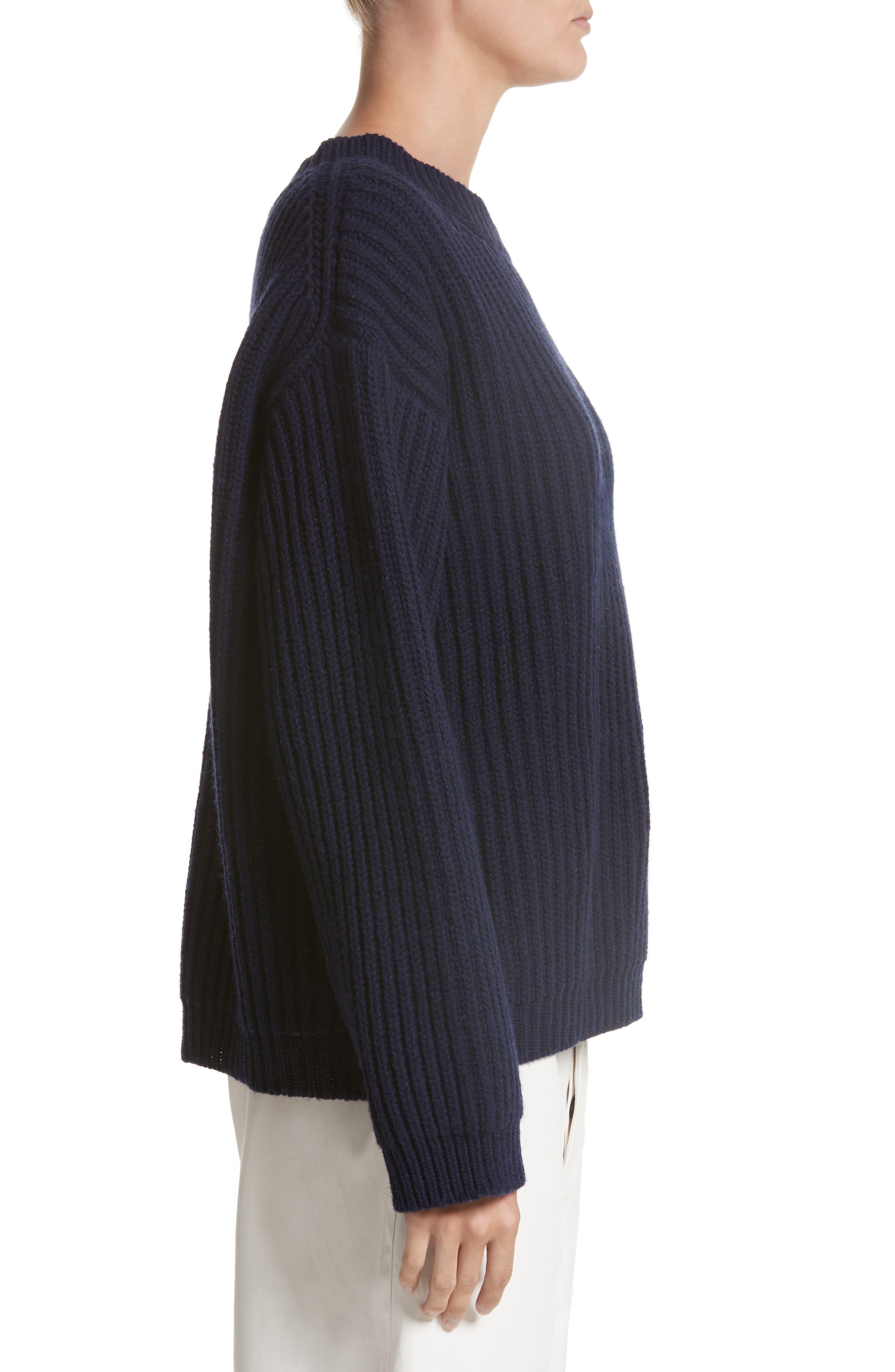 Crop Wool Sweater,                             Alternate thumbnail 3, color,                             410