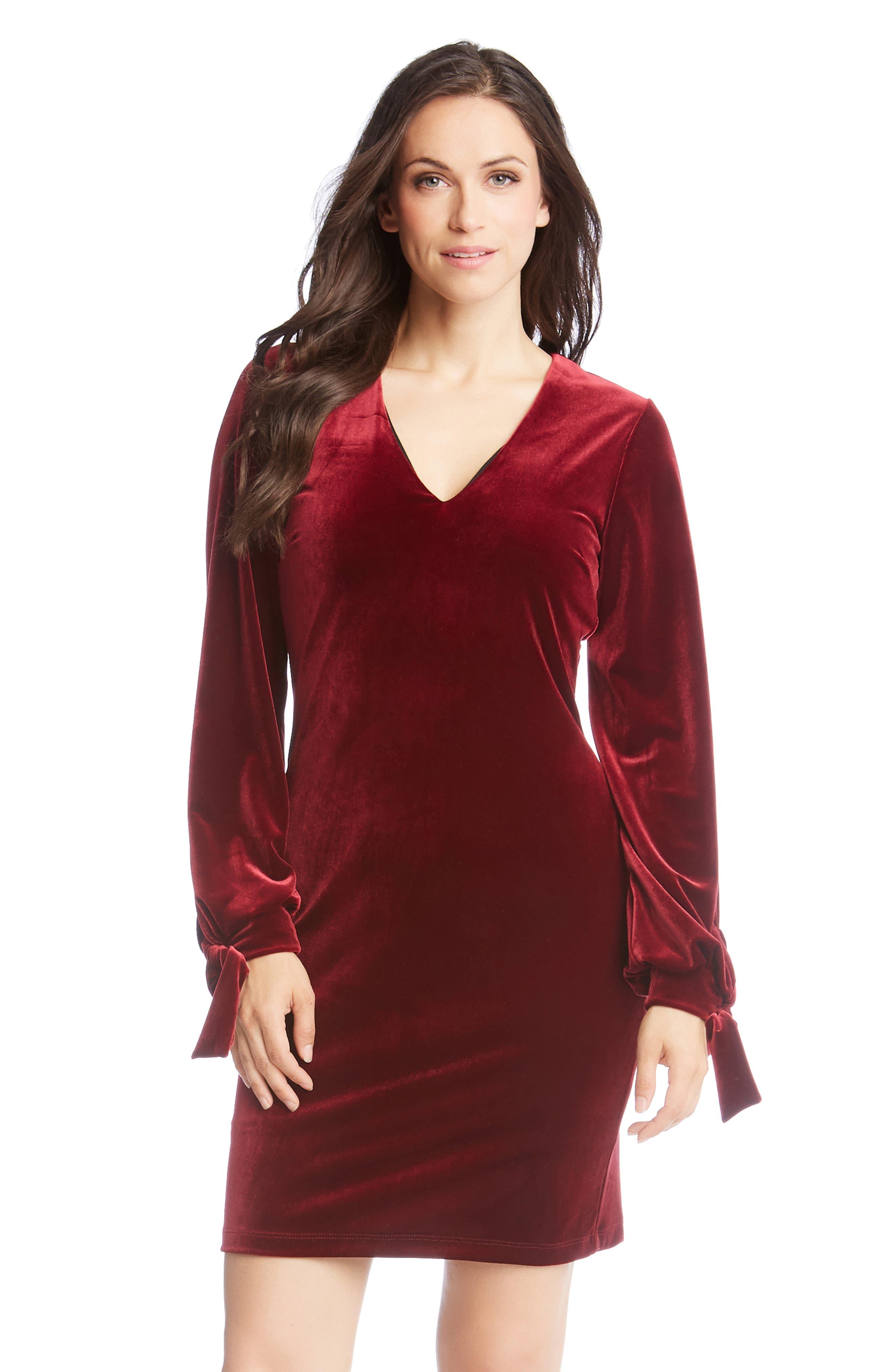 Velvet Tie Sleeve Dress,                             Alternate thumbnail 3, color,                             WINE