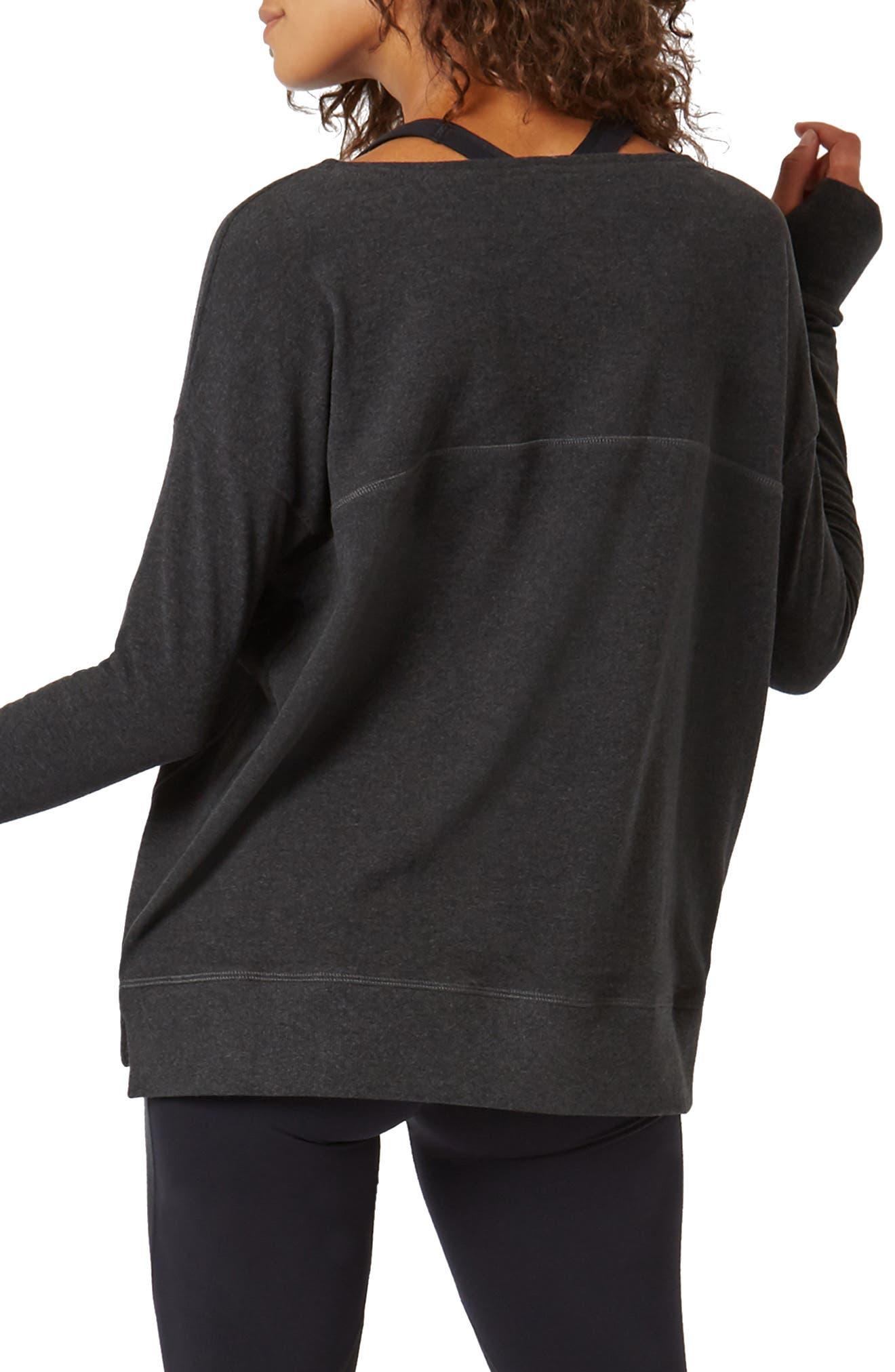 Luxe Simhasana Sweatshirt,                             Alternate thumbnail 2, color,                             BLACK MARL