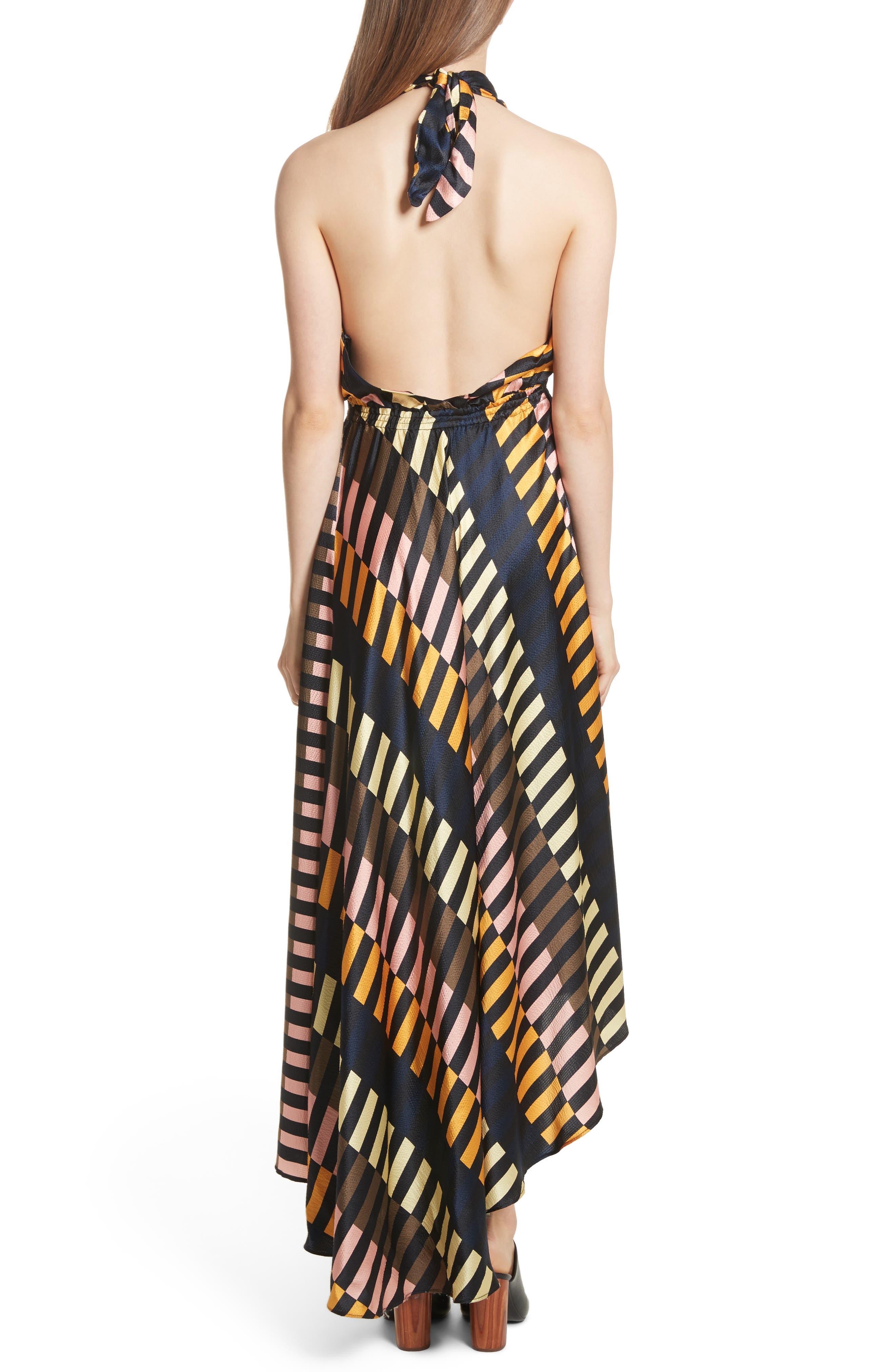 Nightingale Silk Halter Dress,                             Alternate thumbnail 2, color,                             001